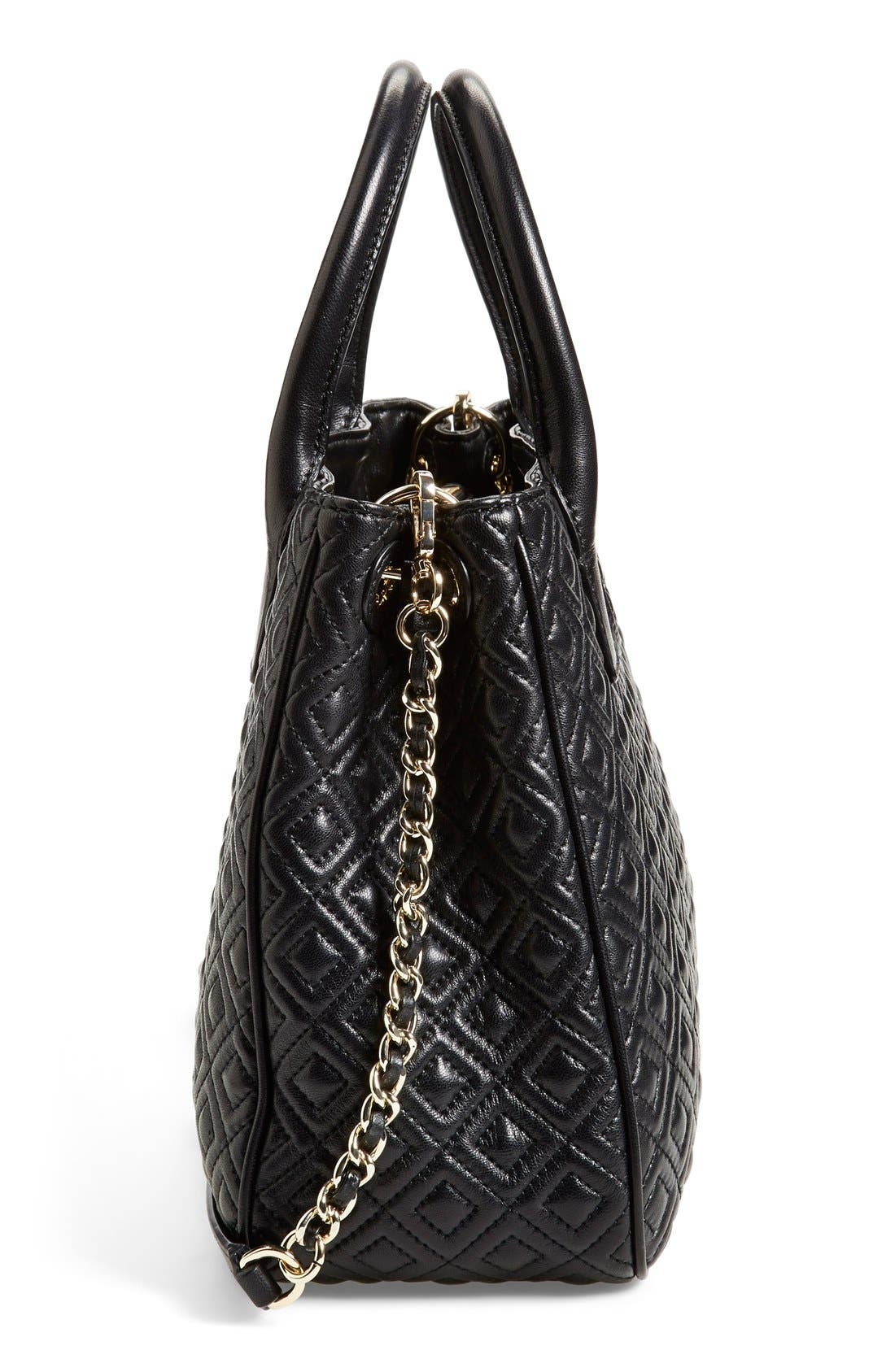 TORY BURCH, Marion Quilted Lambskin Tote, Alternate thumbnail 4, color, 001