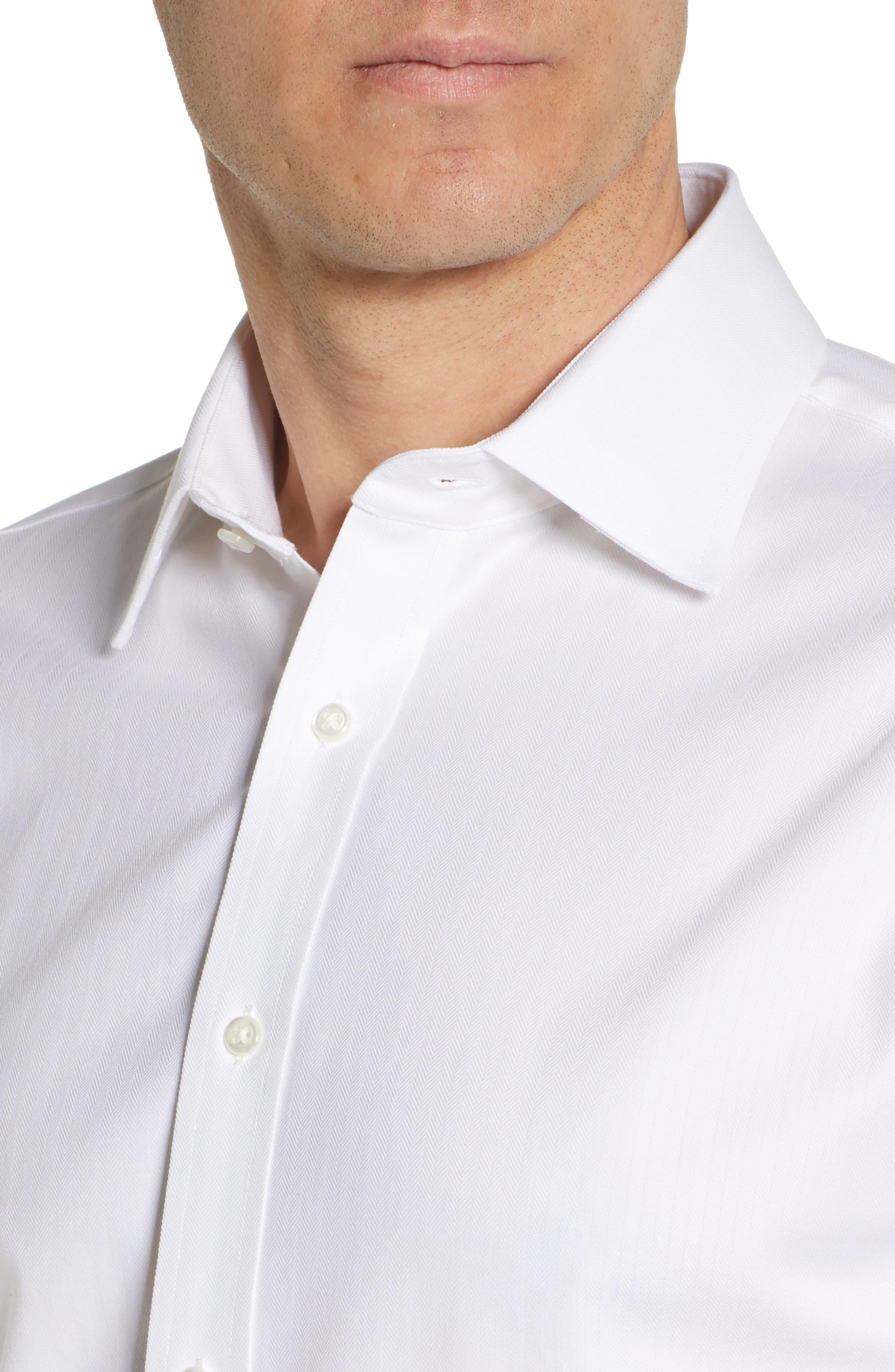 NORDSTROM MEN'S SHOP, Tech-Smart Traditional Fit Stretch Herringbone Dress Shirt, Alternate thumbnail 2, color, WHITE