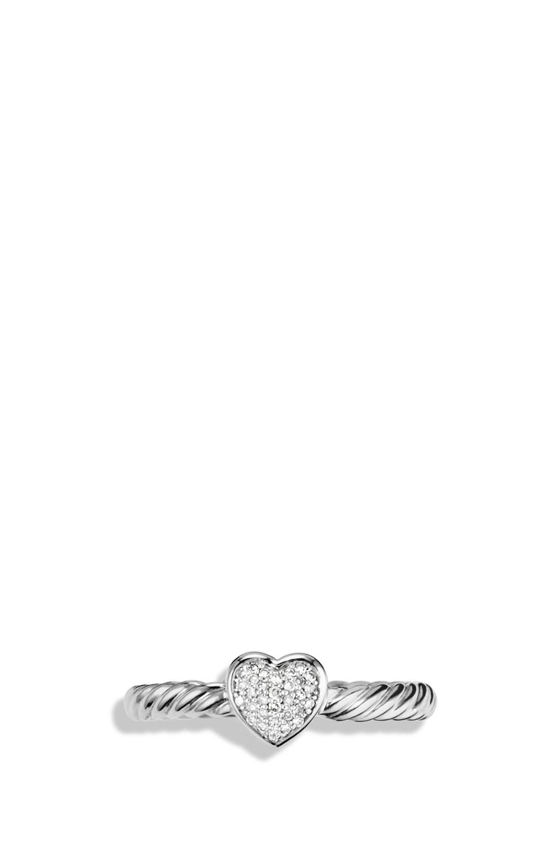 DAVID YURMAN, 'Cable Collectibles' Heart Ring with Diamonds, Alternate thumbnail 3, color, DIAMOND