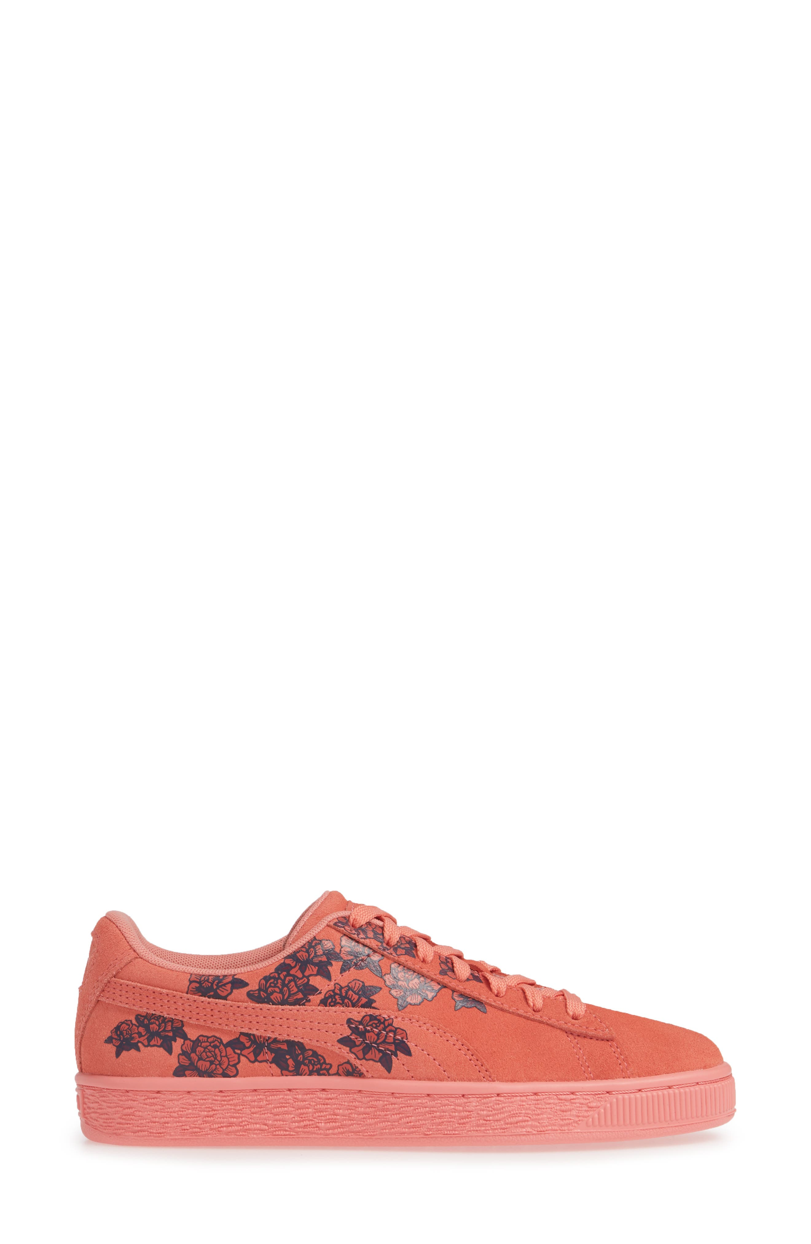 PUMA, Suede TOL Graphic Sneaker, Alternate thumbnail 3, color, SHELL PINK