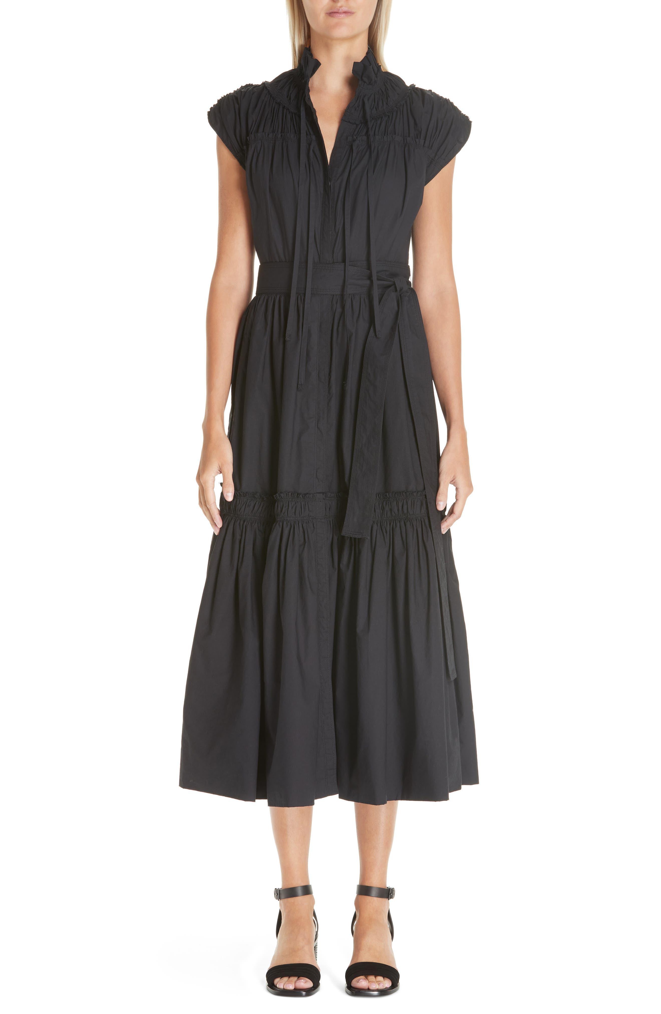 PROENZA SCHOULER, Smocked Poplin Dress, Main thumbnail 1, color, BLACK