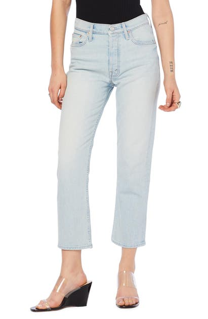 Mother Jeans The Tomcat High Waist Ripped Crop Straight Leg Jeans