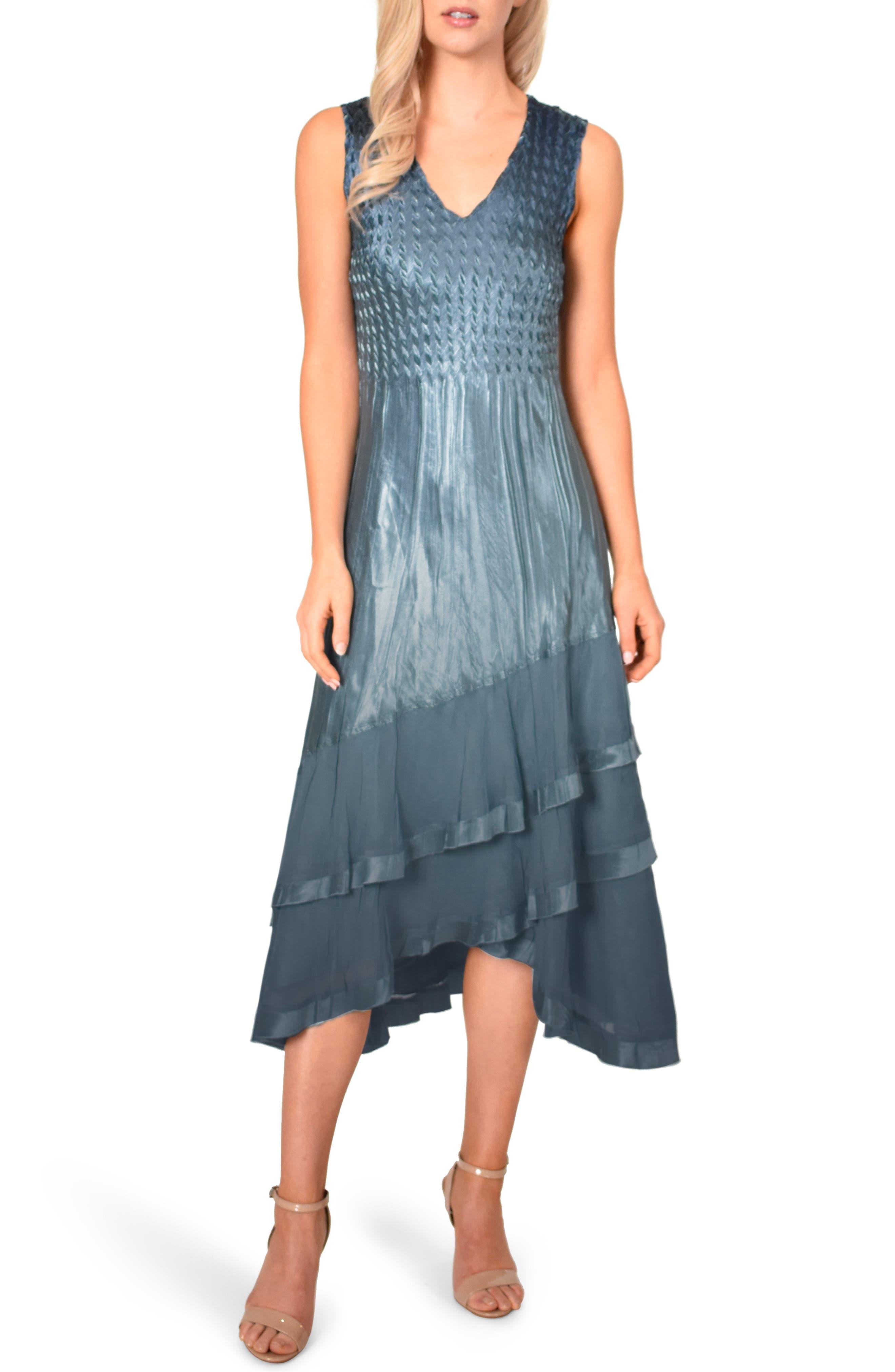 KOMAROV, Asymmetrical Jacket Dress, Alternate thumbnail 4, color, SILVER BLUE NIGHT OMBRE