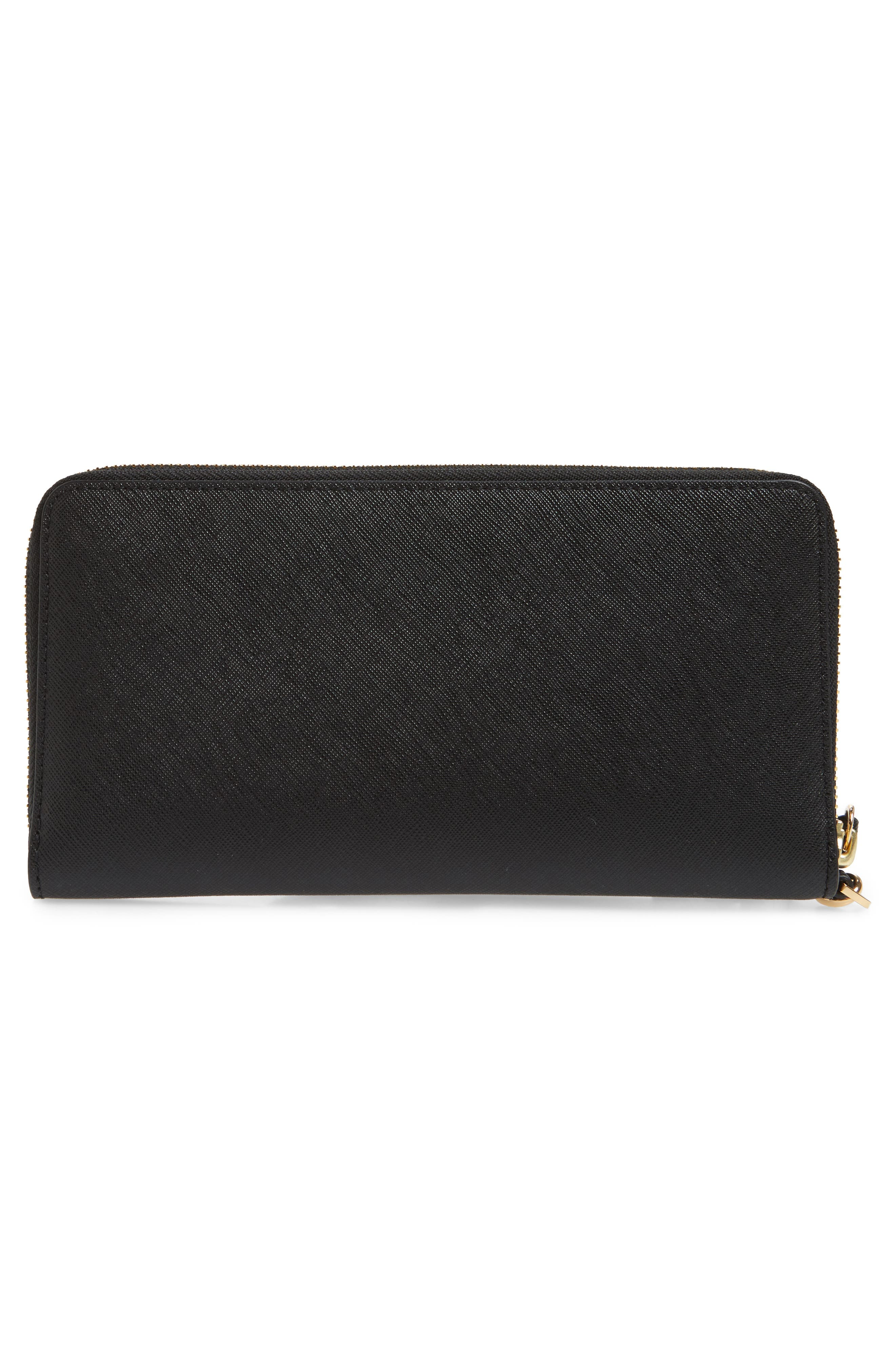 TORY BURCH, Robinson Leather Passport Continental Wallet, Alternate thumbnail 3, color, BLACK / ROYAL NAVY
