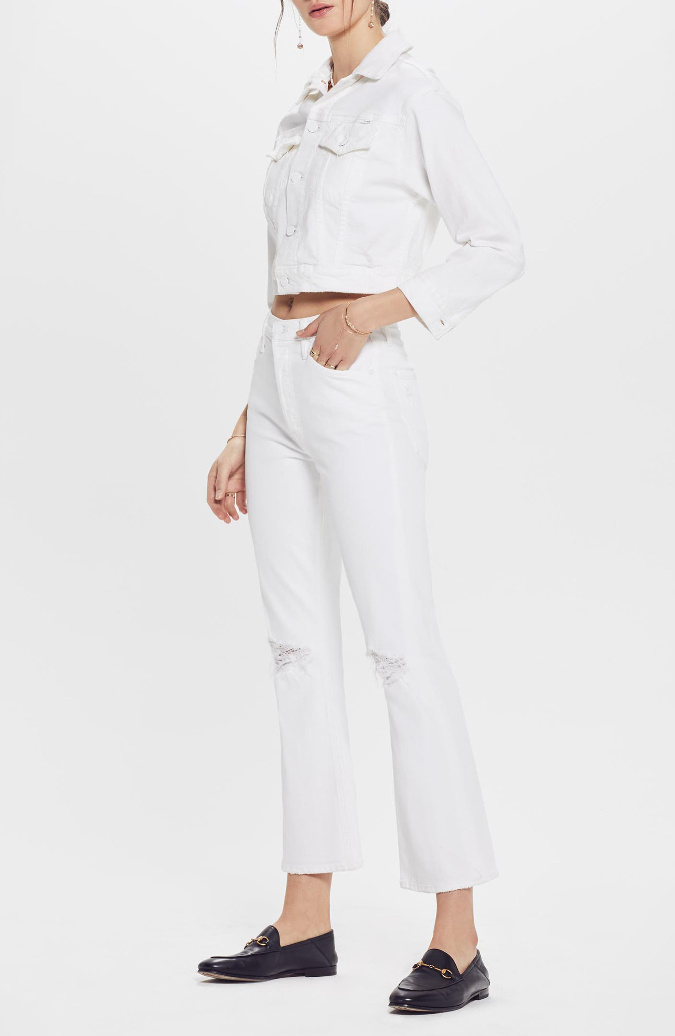 MOTHER, The Tripper High Waist Crop Bootcut Jeans, Alternate thumbnail 5, color, ALMOST INNOCENT