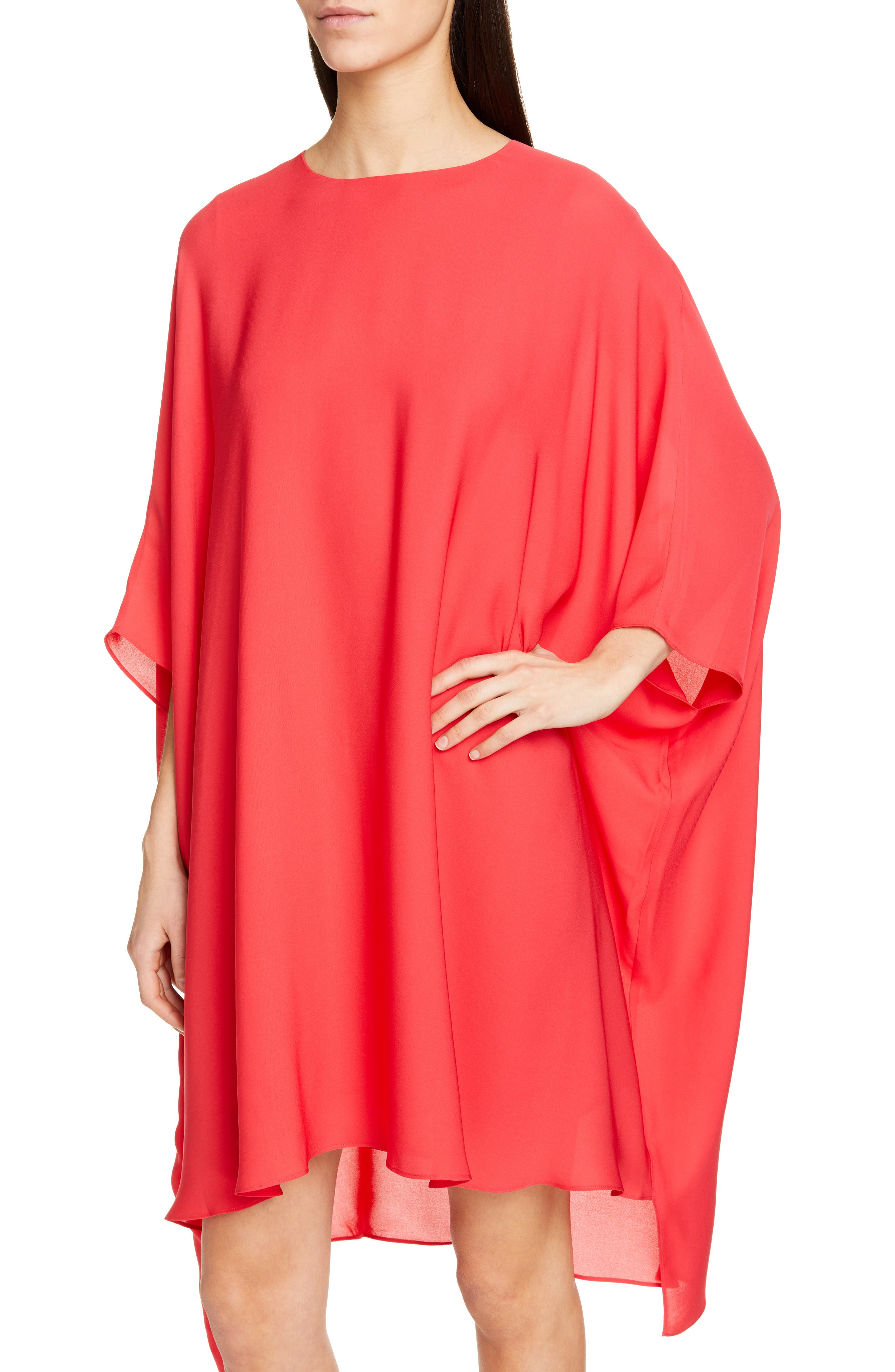 ST. JOHN COLLECTION, Draped Satin Silk Georgette Dress, Alternate thumbnail 5, color, CRIMSON