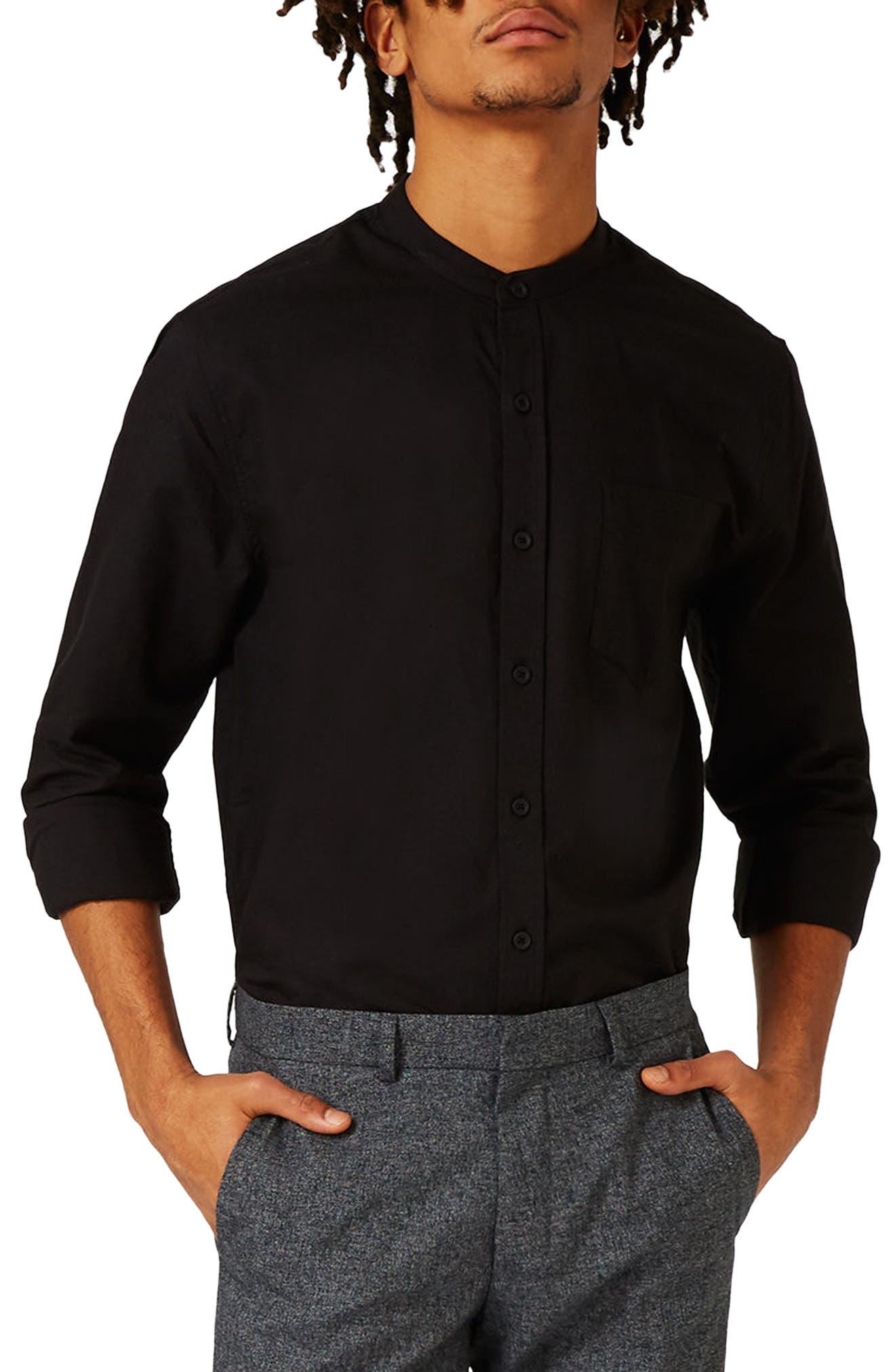 TOPMAN, Band Collar Shirt, Main thumbnail 1, color, 001