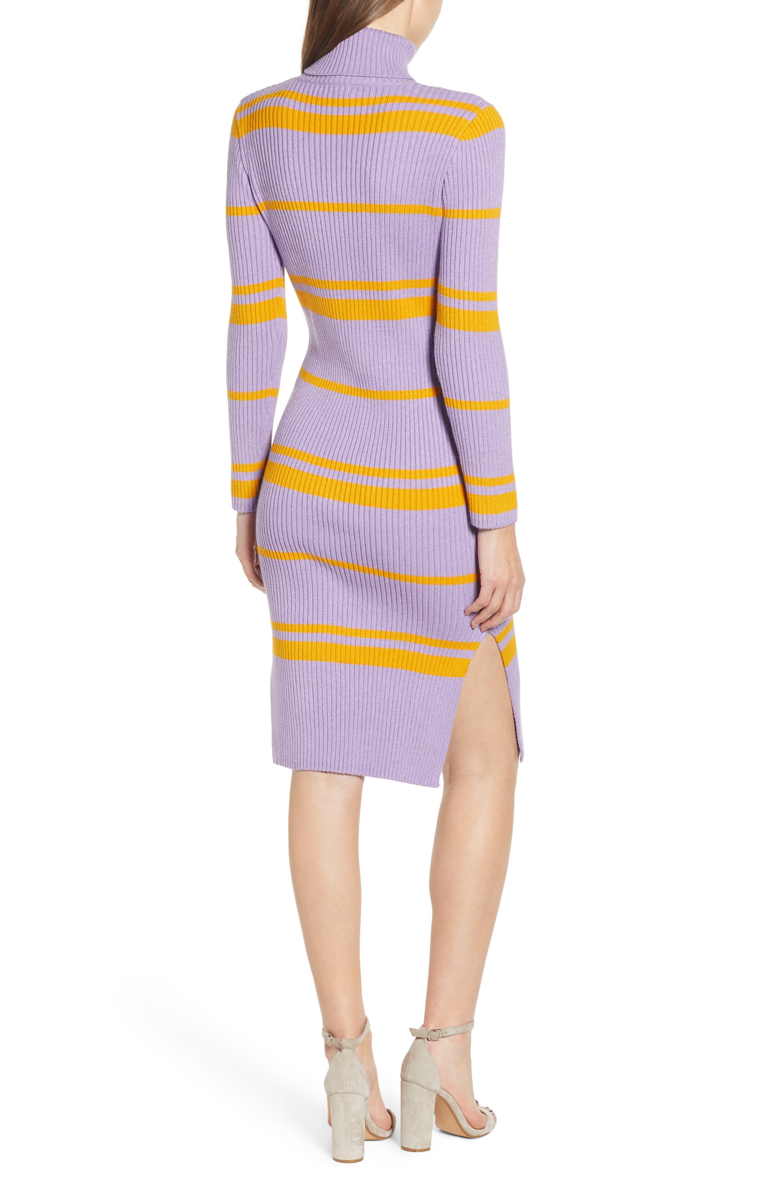 MOON RIVER, Stripe Turtleneck Sweater Dress, Alternate thumbnail 2, color, 500