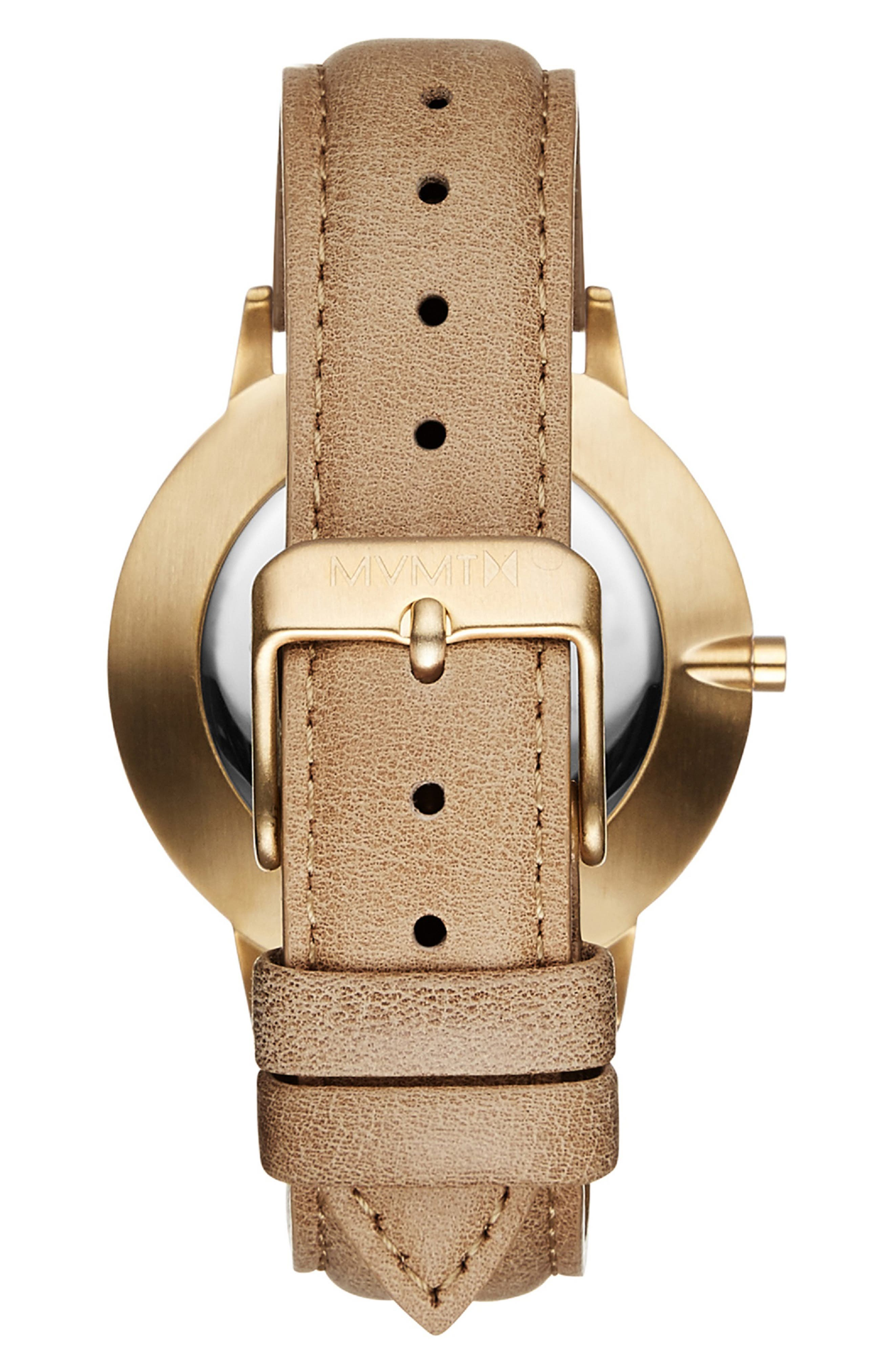 MVMT, Boulevard Leather Strap Watch, 38mm, Alternate thumbnail 3, color, CARAMEL/ WHITE MARBLE/ GOLD