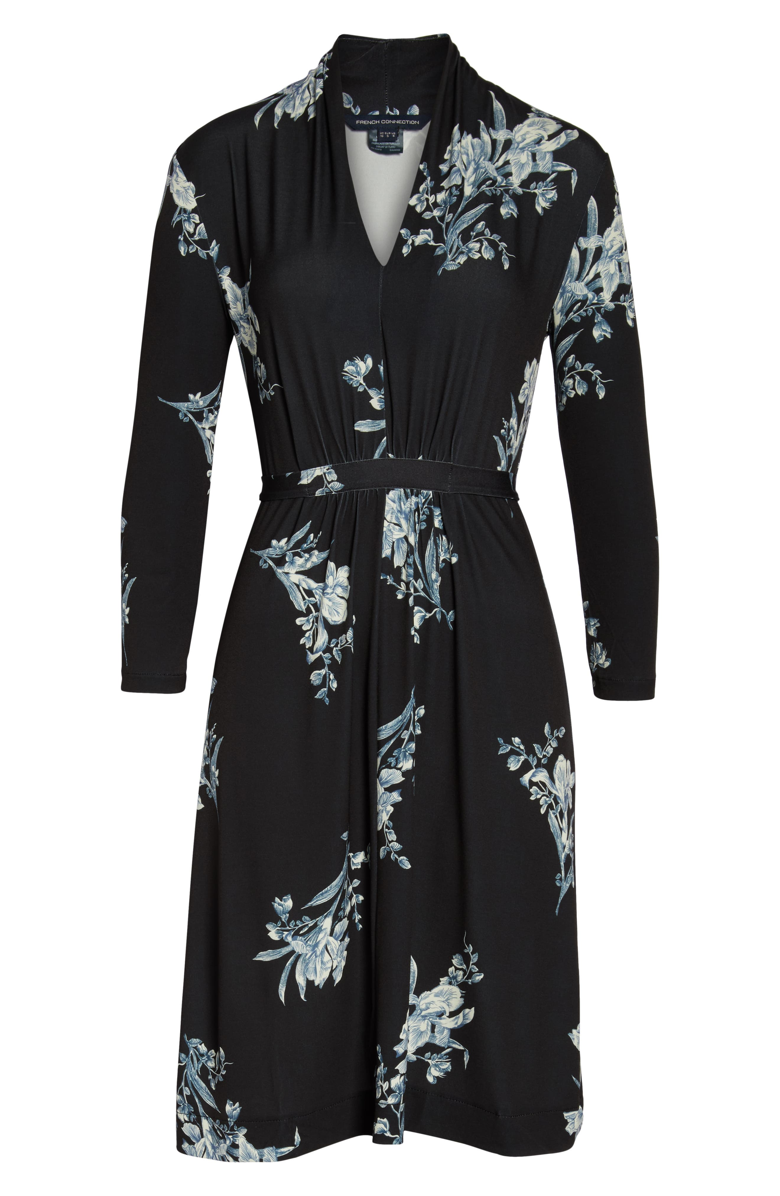 FRENCH CONNECTION, Laila Floral Print Dress, Alternate thumbnail 7, color, BLACK MULTI
