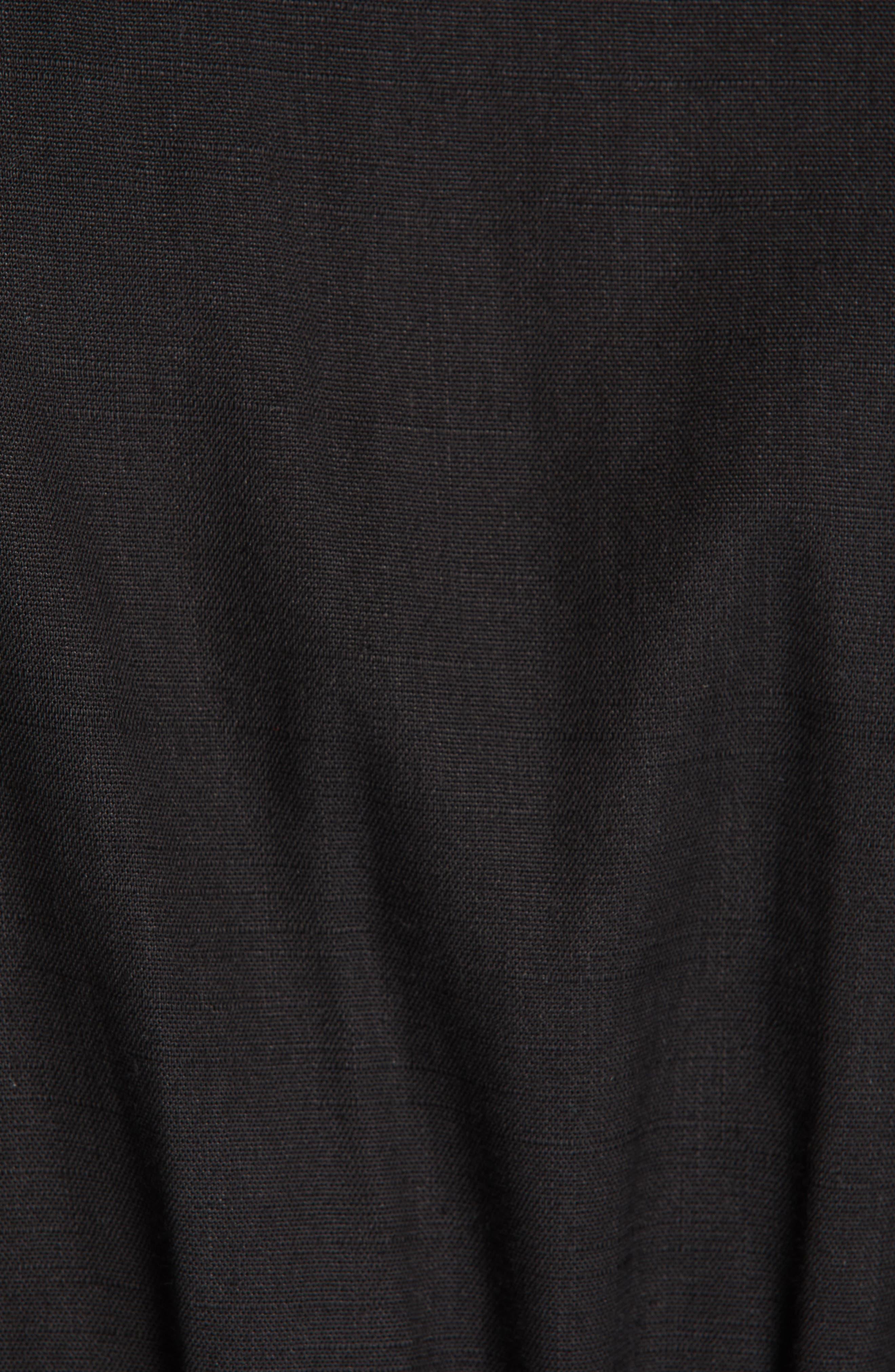 VERONICA BEARD, Giana Tie Waist Linen Blend Midi Dress, Alternate thumbnail 6, color, BLACK