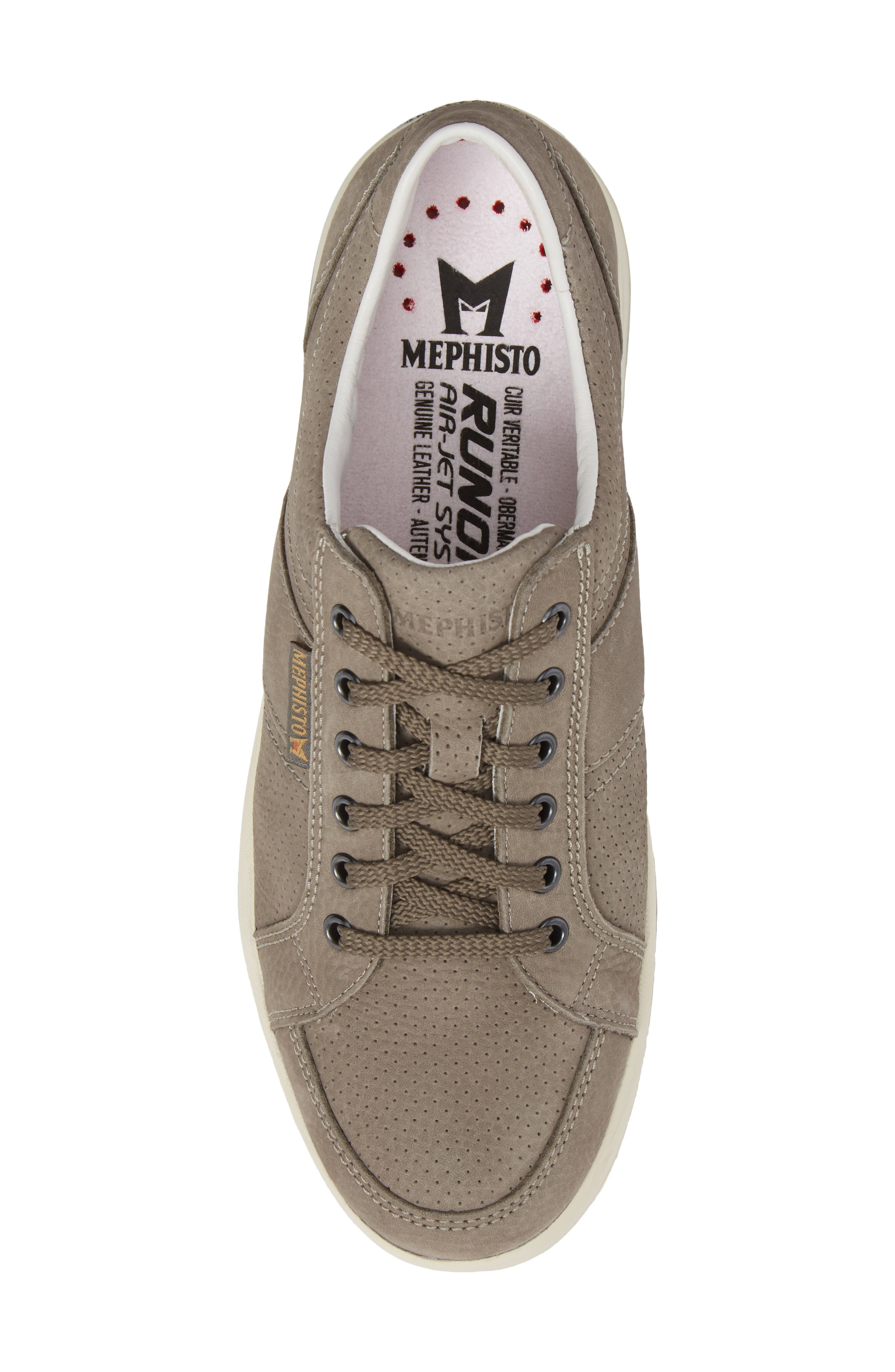 MEPHISTO, 'Hero' Perforated Sneaker, Alternate thumbnail 5, color, GREY LEATHER