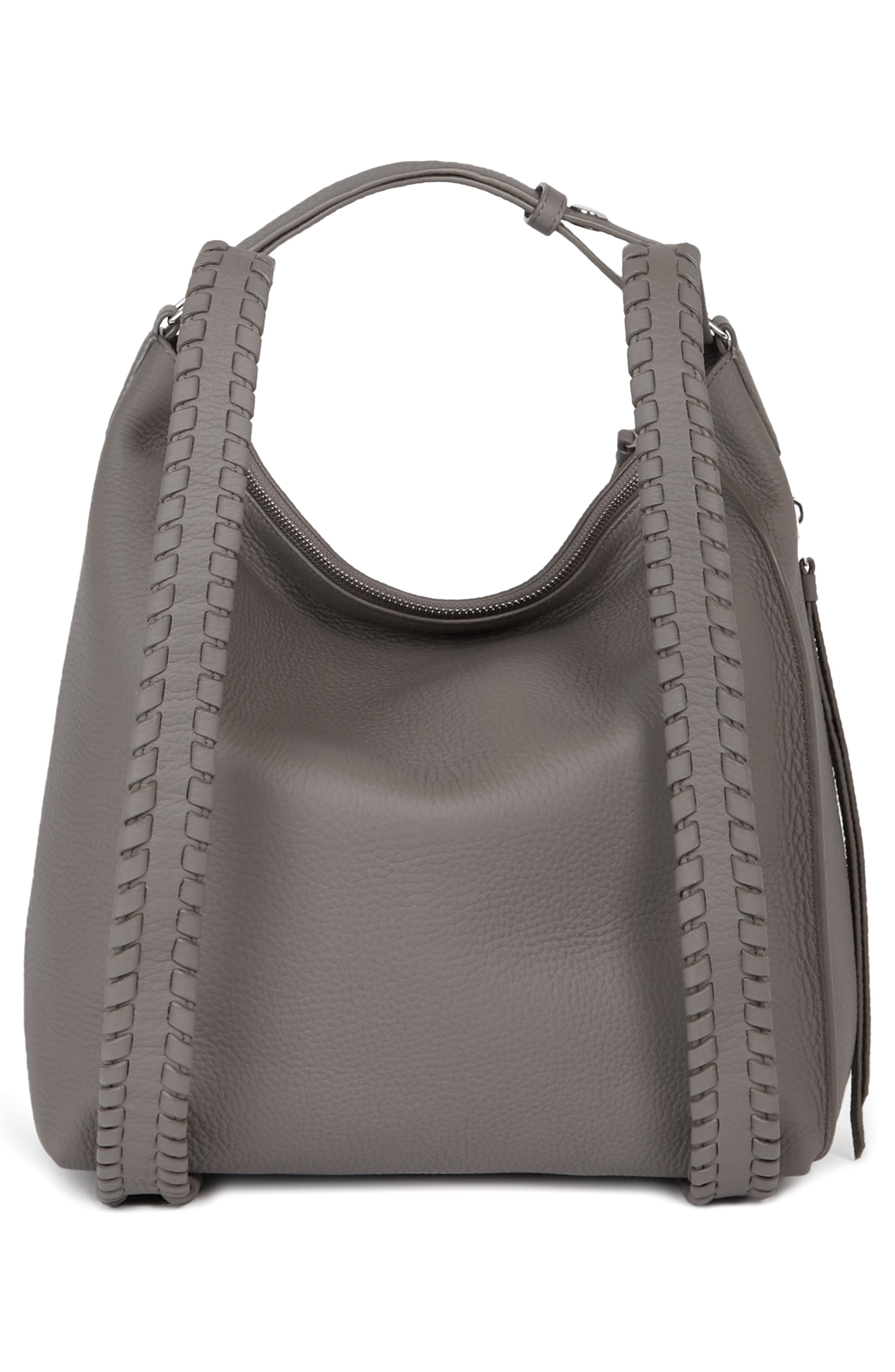 ALLSAINTS, Small Kita Convertible Leather Backpack, Alternate thumbnail 2, color, STORM GREY