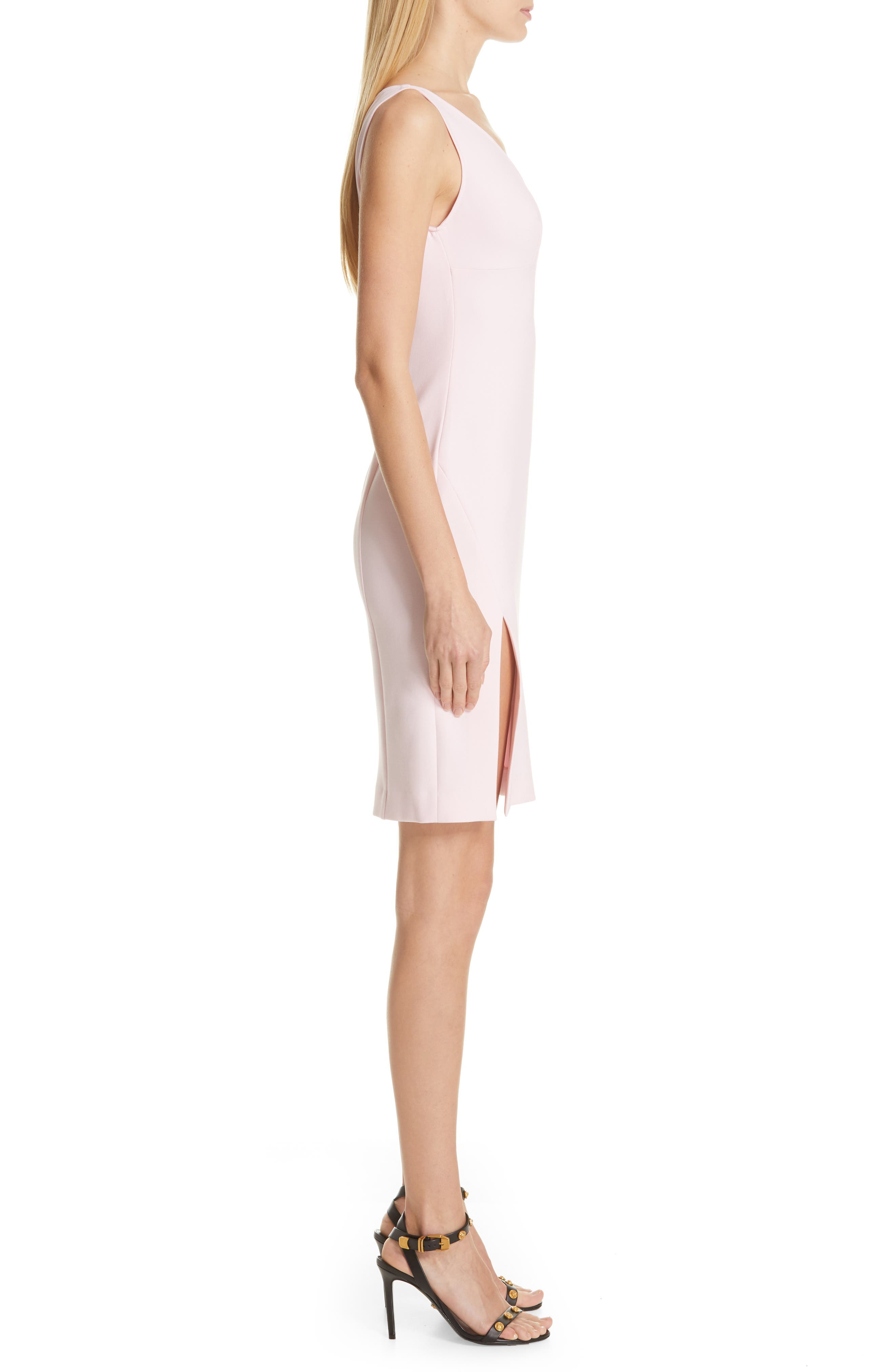 VERSACE COLLECTION, Stretch Cady Sheath Dress, Alternate thumbnail 4, color, PASTEL ROSE