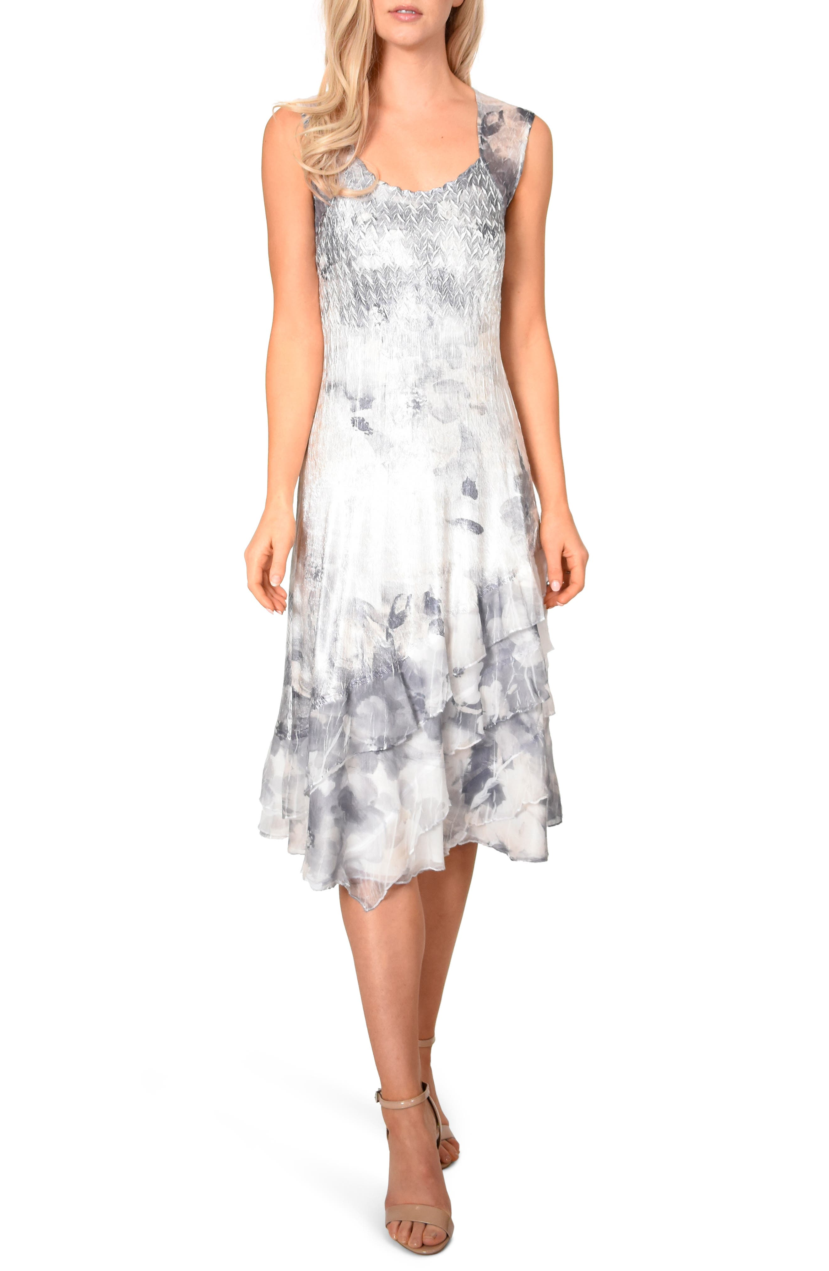 KOMAROV, Floral Charmeuse & Chiffon Dress with Jacket, Alternate thumbnail 4, color, FROSTED PETAL