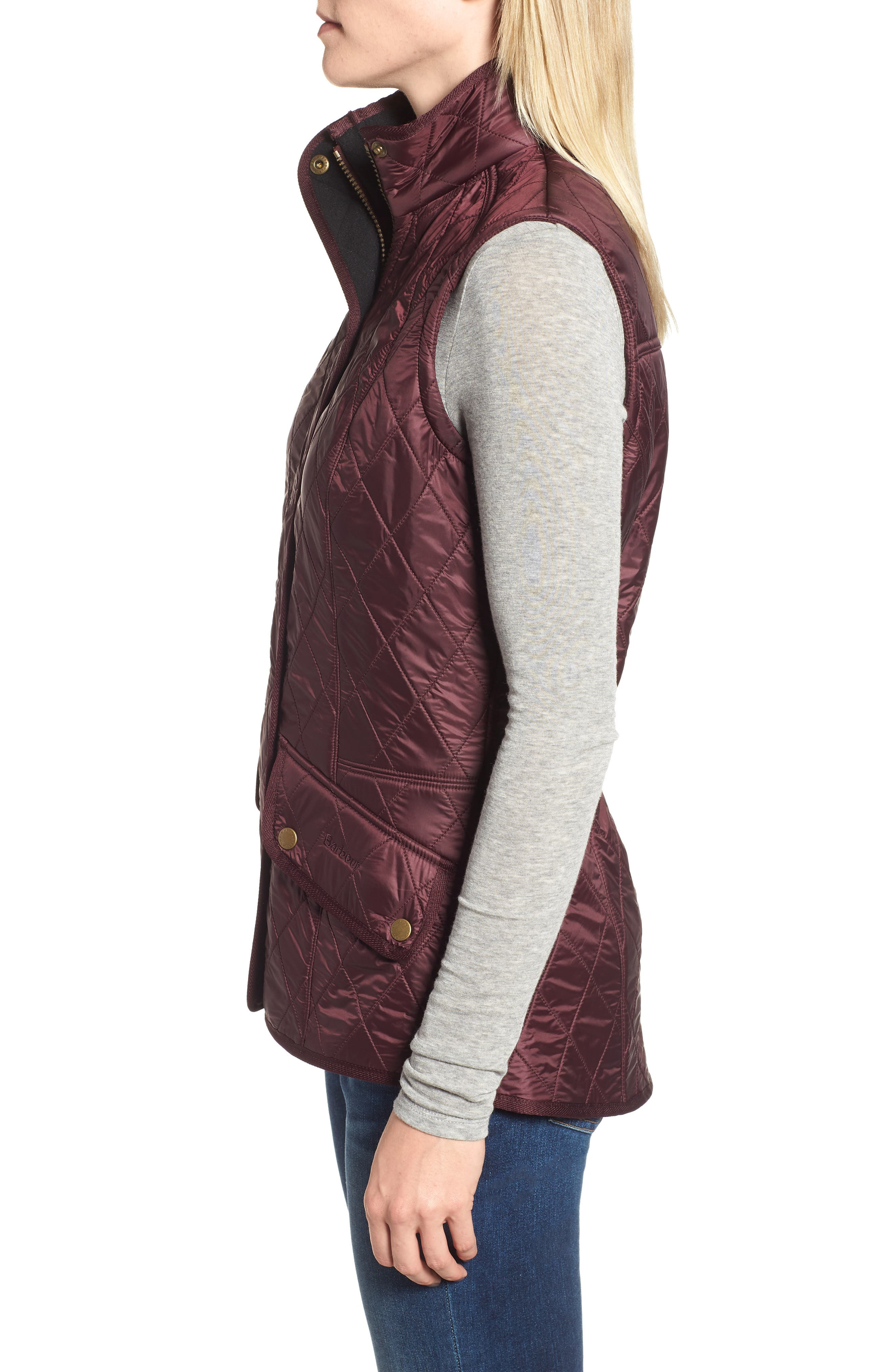 BARBOUR, 'Cavalry' Quilted Vest, Alternate thumbnail 4, color, AUBERGINE/ NAVY