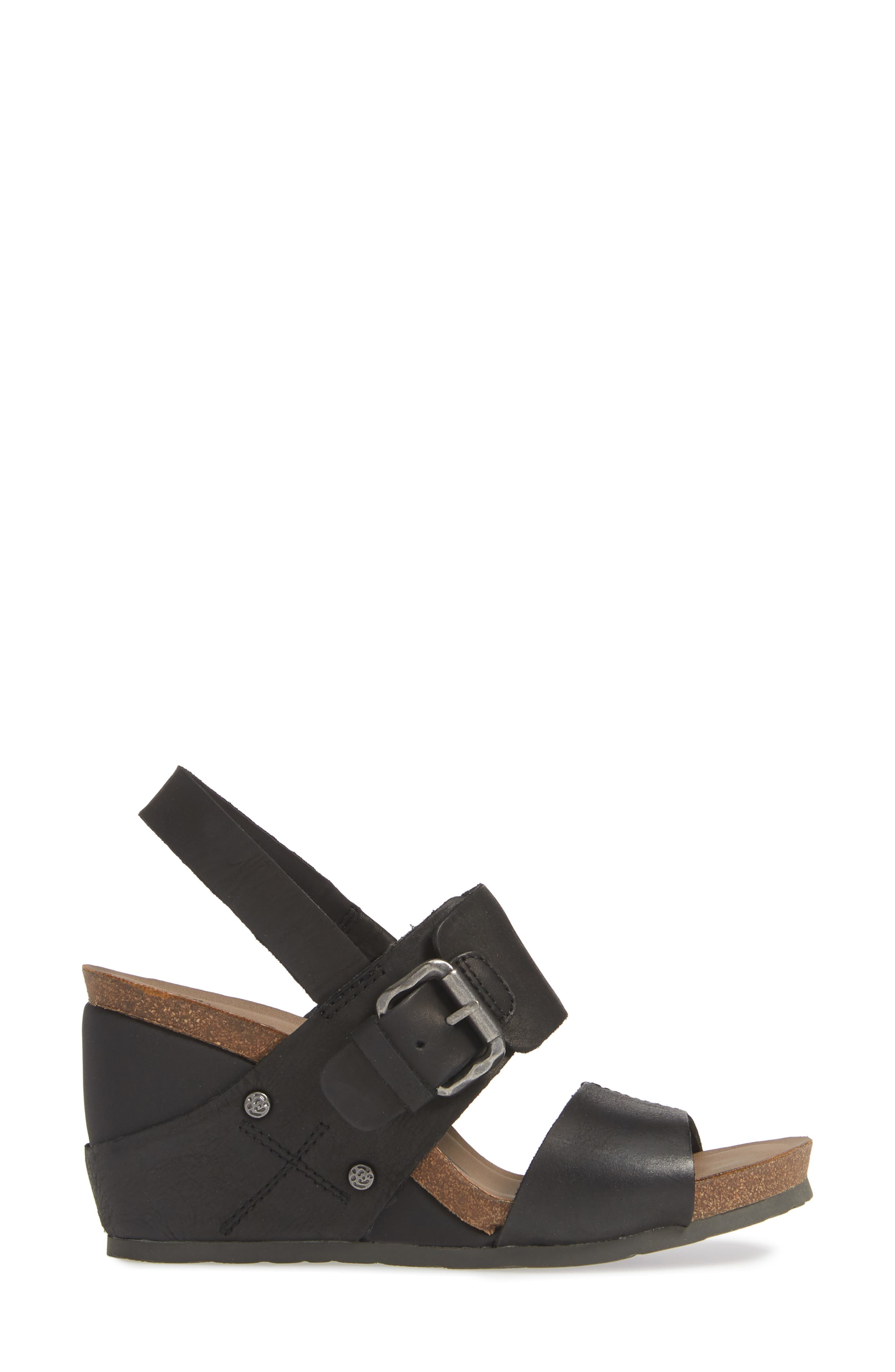 OTBT, Overnight Wedge Sandal, Alternate thumbnail 3, color, BLACK LEATHER