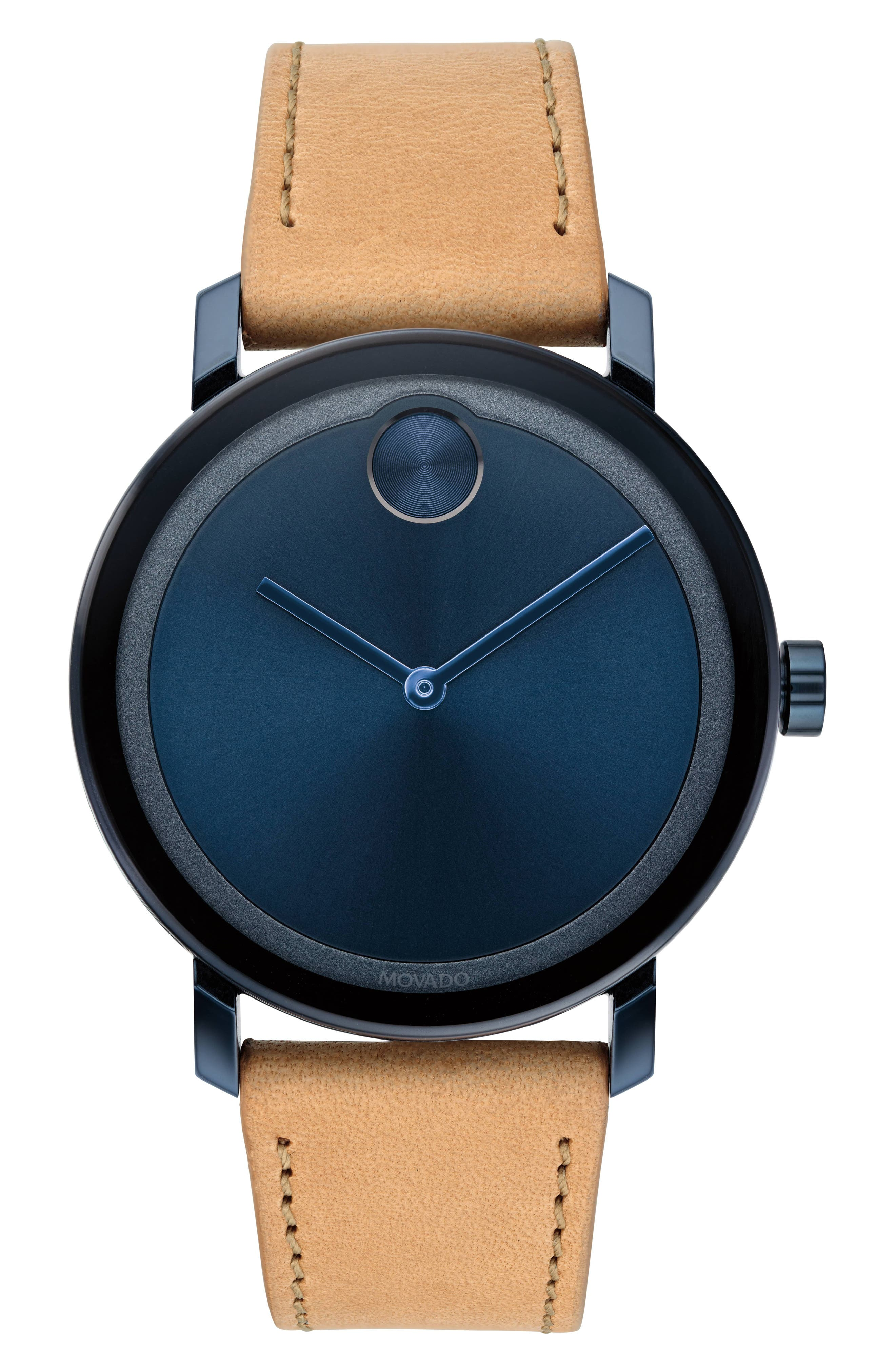 MOVADO, Bold Leather Strap Watch, 40mm, Main thumbnail 1, color, BEIGE/ BLUE