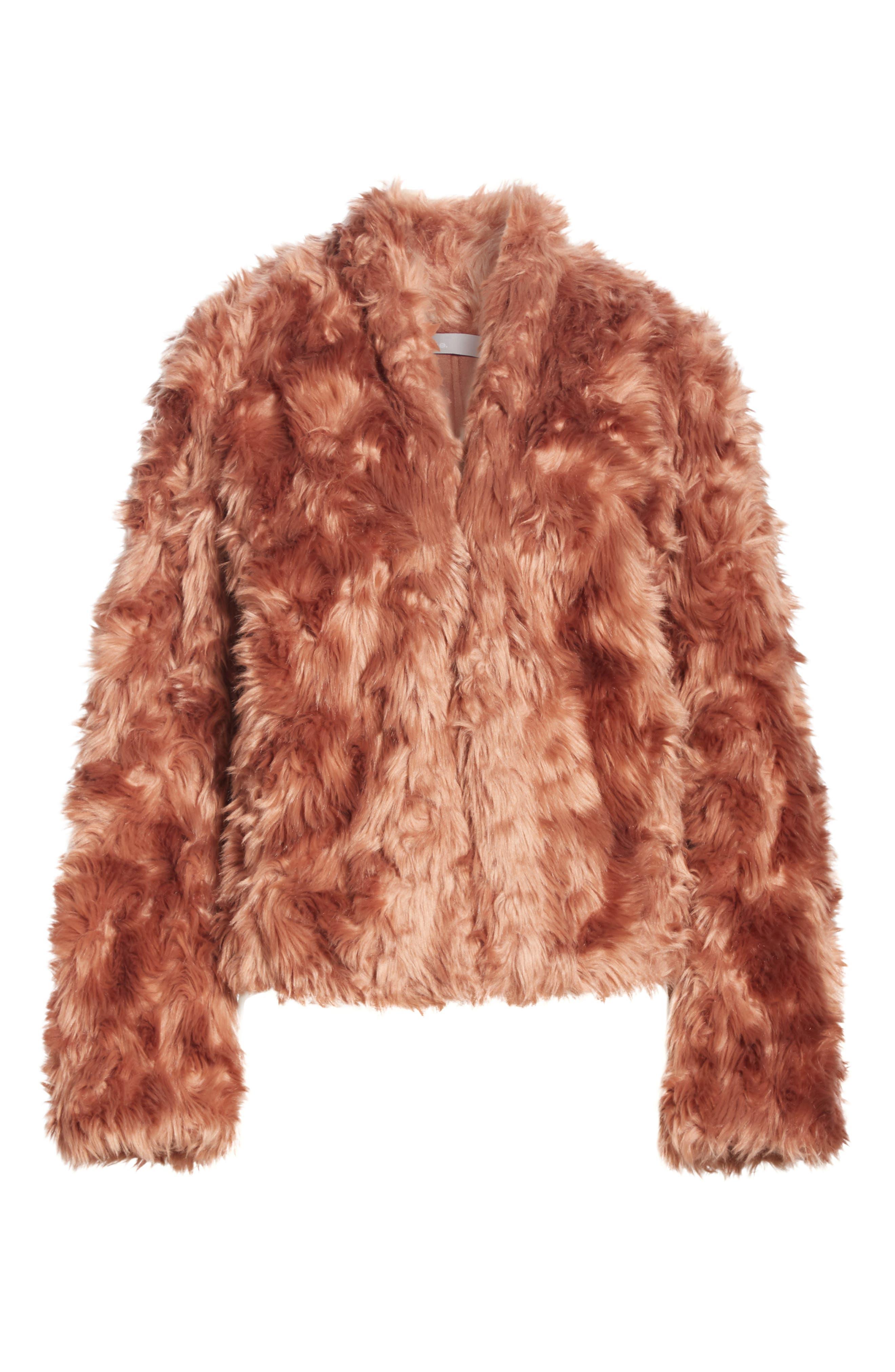 VINCE, Plush Faux Fur Jacket, Alternate thumbnail 6, color, PINK UMBER