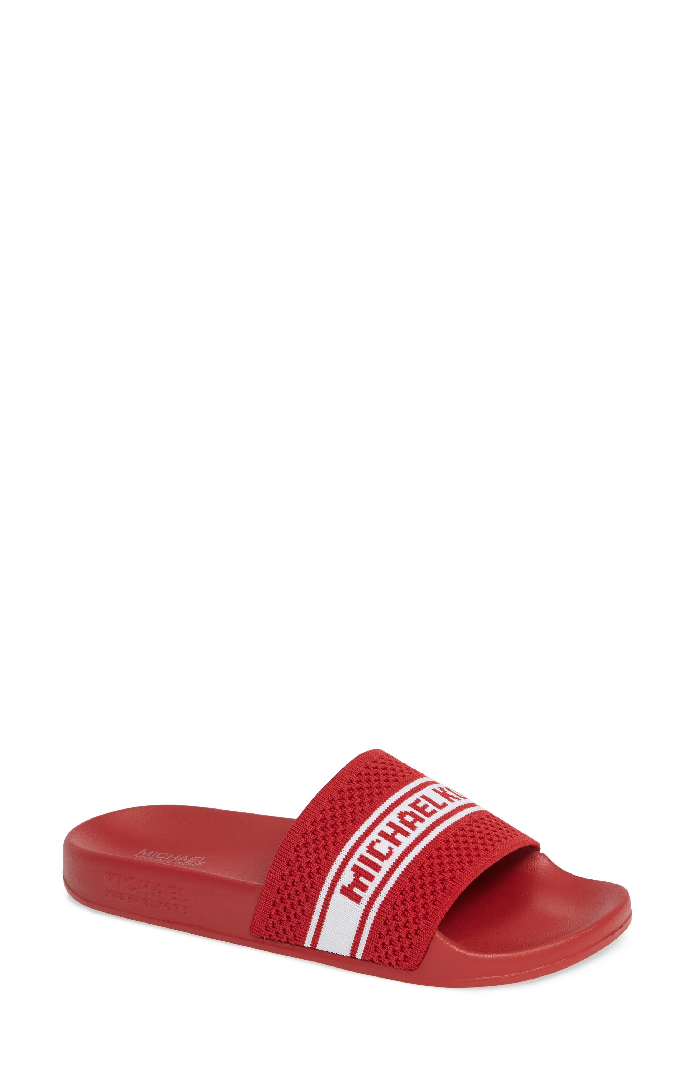 MICHAEL MICHAEL KORS, Gilmore Slide Sandal, Main thumbnail 1, color, BRIGHT RED FABRIC