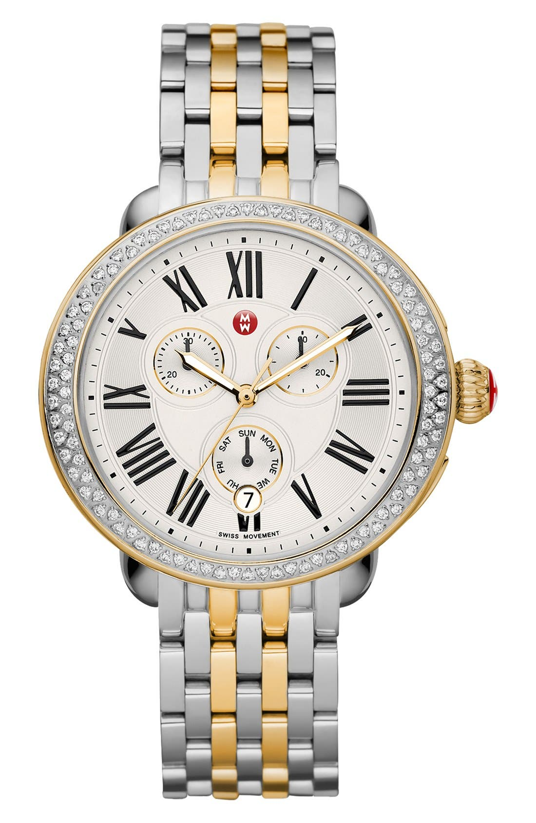 MICHELE, Serein Diamond Two-Tone Watch Case, 40mm x 38mm, Alternate thumbnail 3, color, GOLD/ SILVER