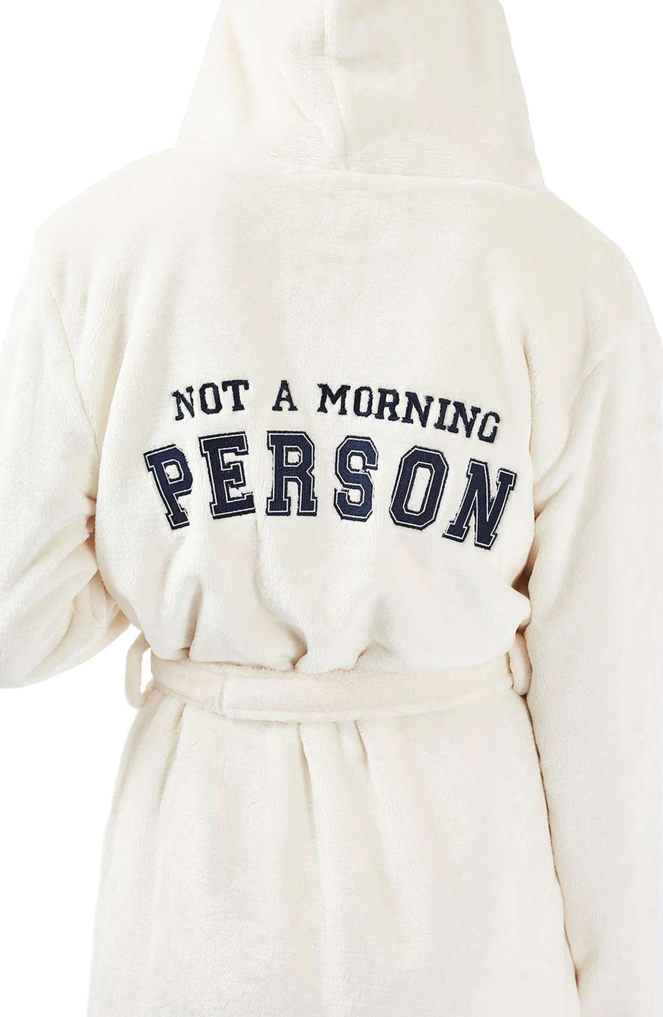 TOPSHOP, Not a Morning Person Hooded Robe, Main thumbnail 1, color, 900
