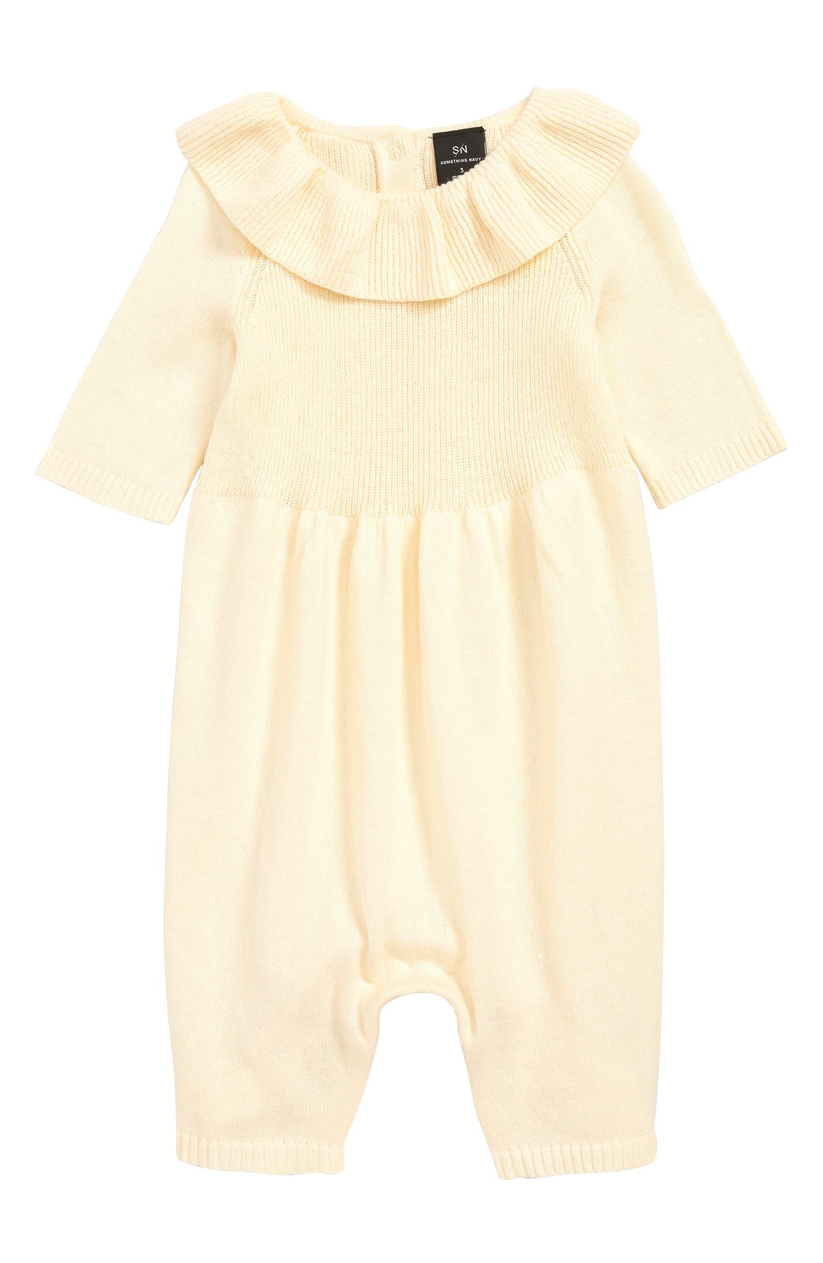 2717fb8500 Something Navy Flounce Neck Romper (Baby) (Nordstrom Exclusive ...