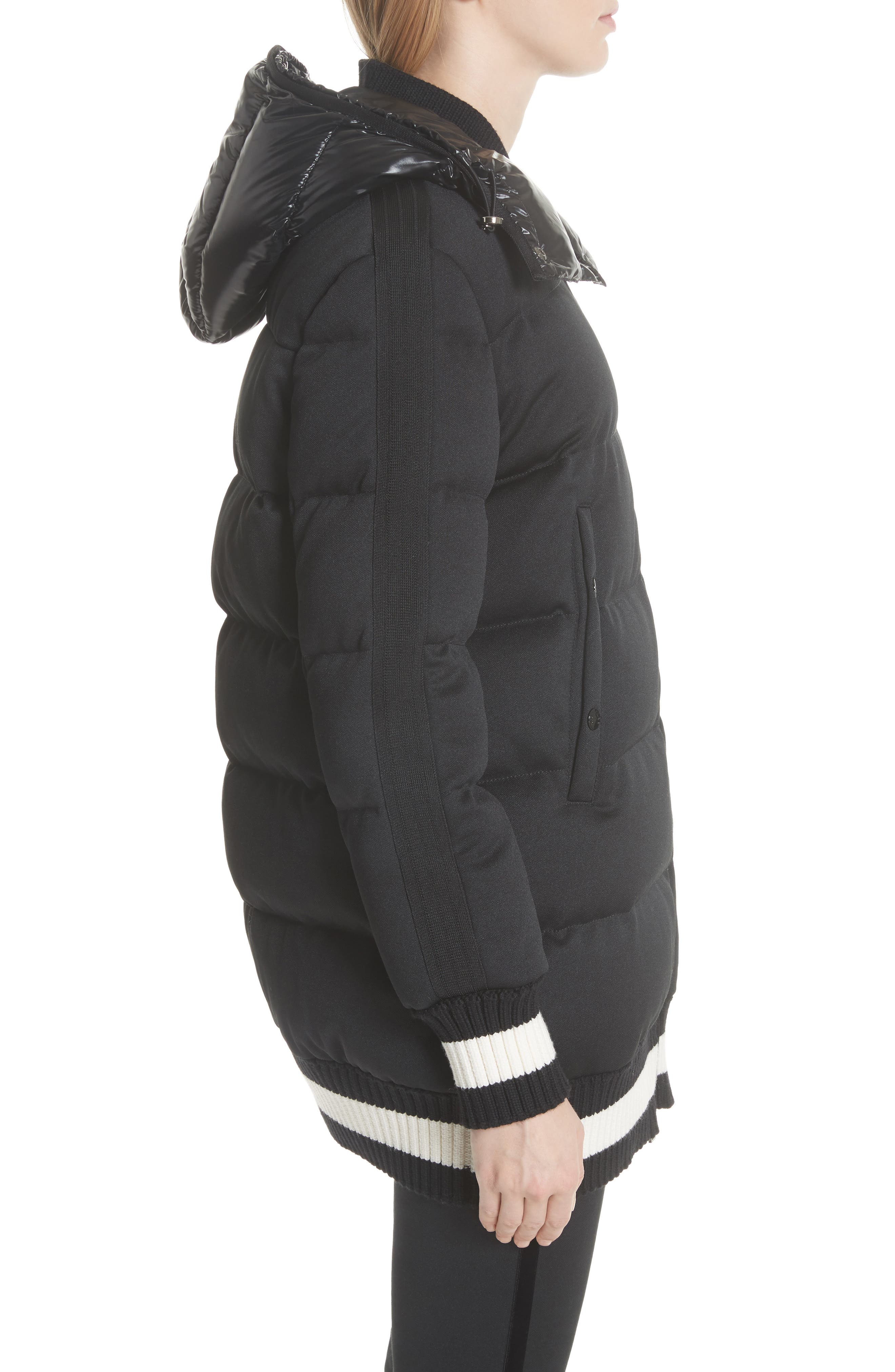 MONCLER, Harfang Quilted Down Bomber Coat, Alternate thumbnail 4, color, BLACK