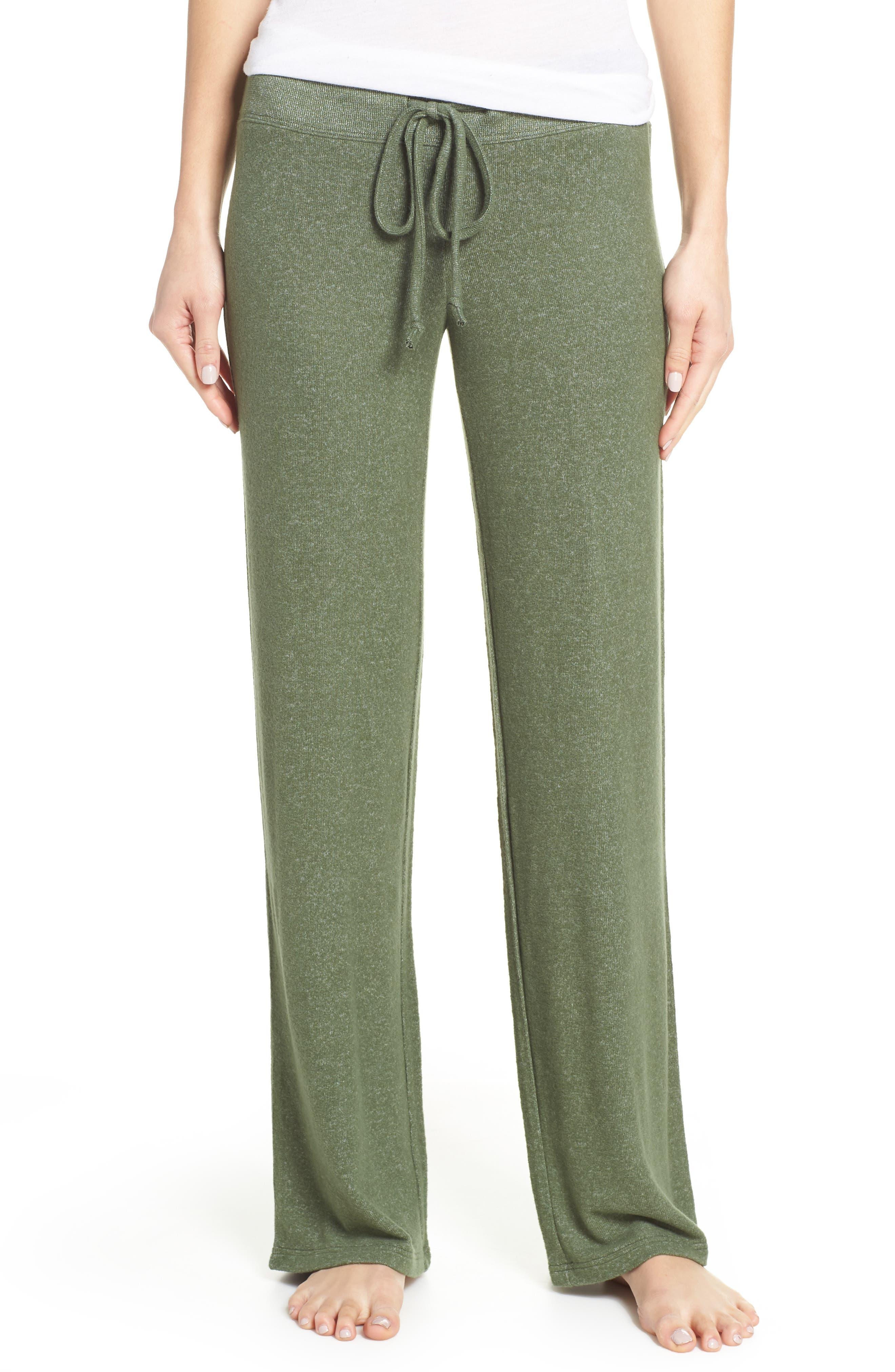 MAKE + MODEL Best Boyfriend Brushed Hacci Lounge Pants, Main, color, GREEN THYME