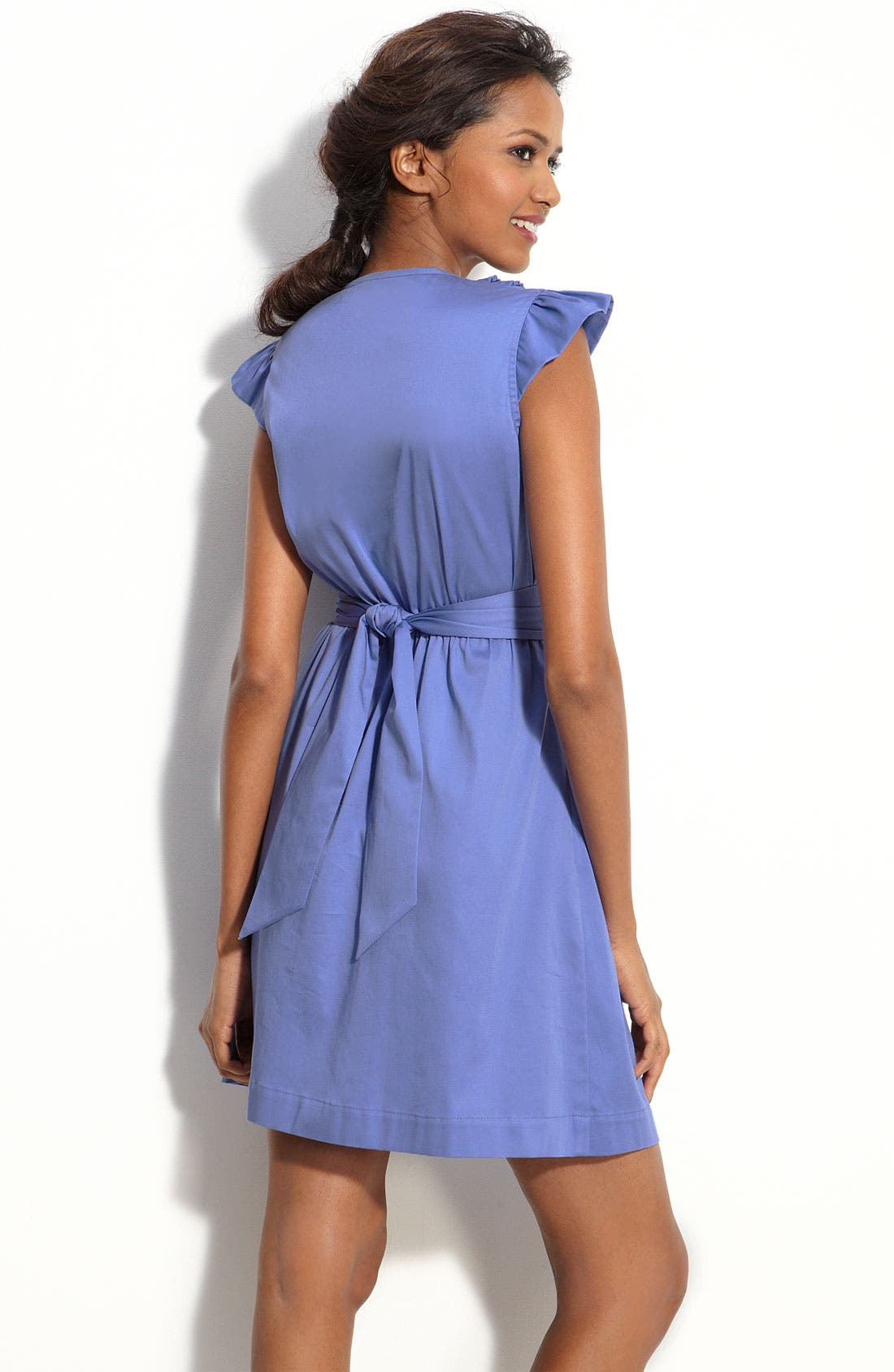 MAX & CLEO, Ruffle Front Sateen Dress, Alternate thumbnail 2, color, 422