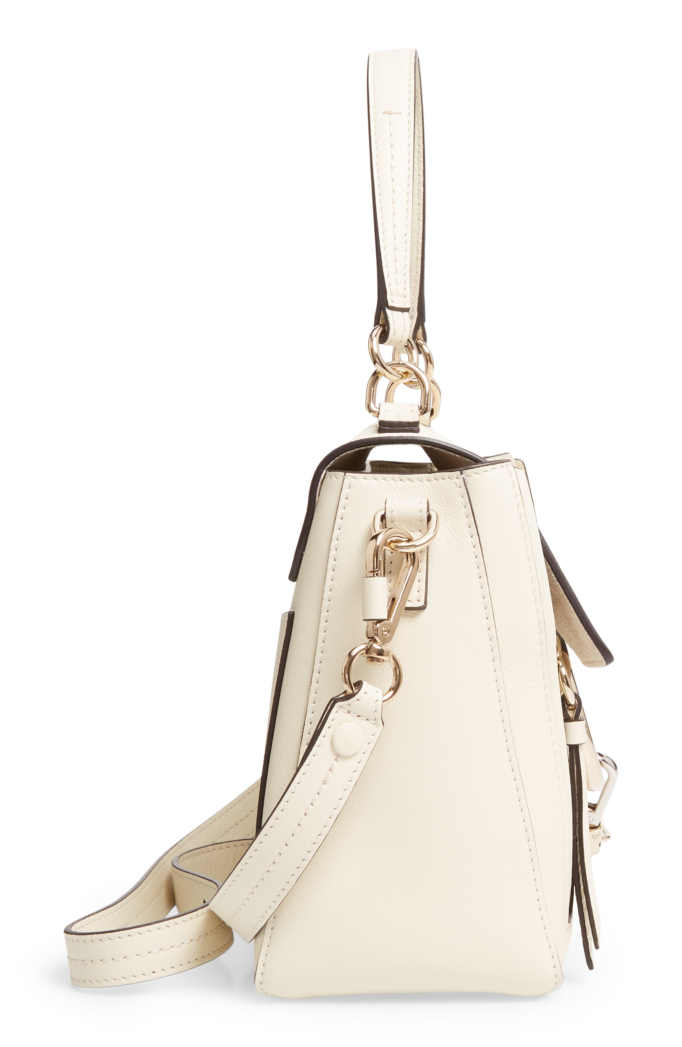 CHLOÉ, Small Faye Day Leather Shoulder Bag, Alternate thumbnail 5, color, OFF WHITE