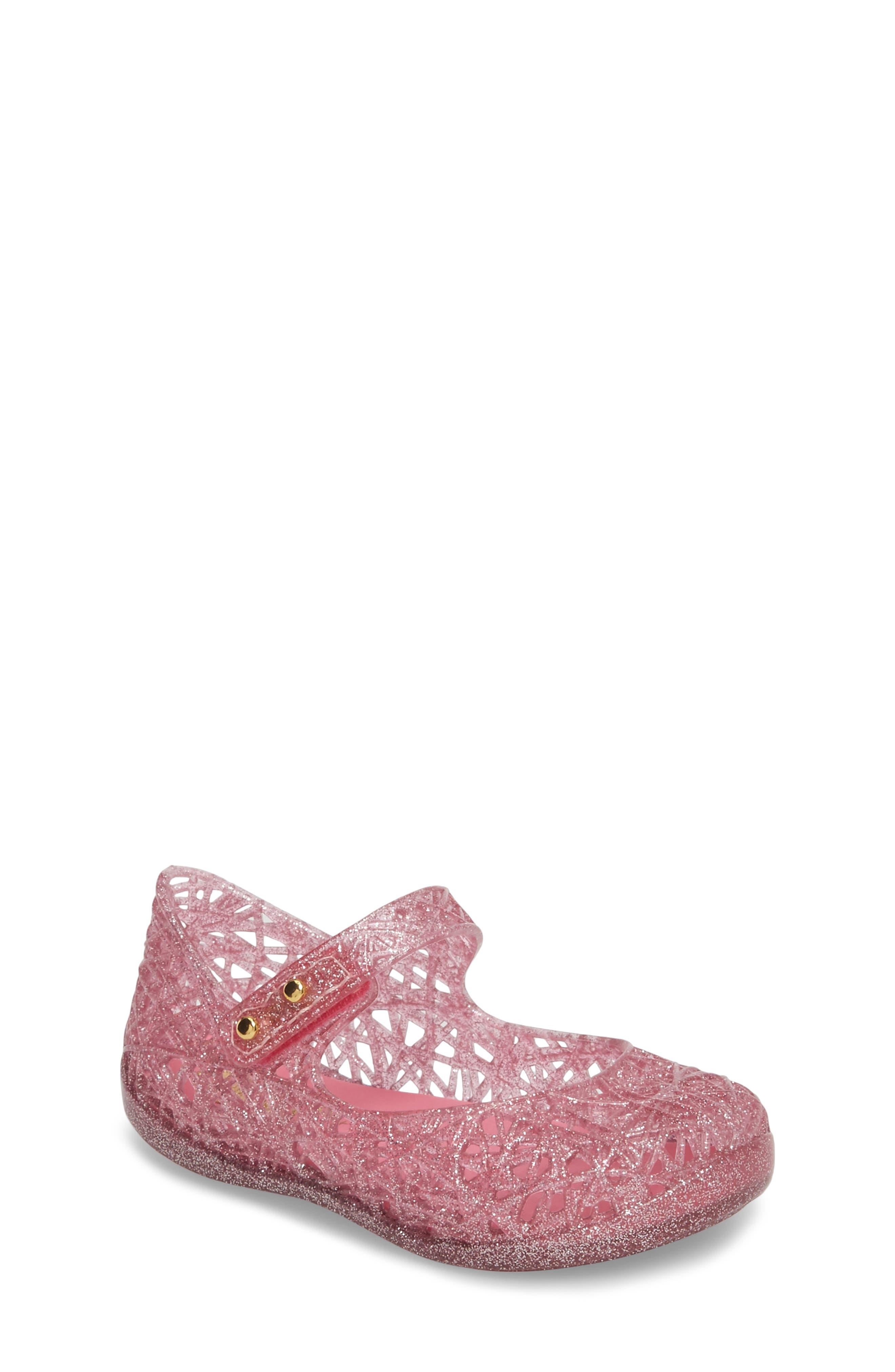 MINI MELISSA Campana Mary Jane Flat, Main, color, PINK/PINK GLITTER