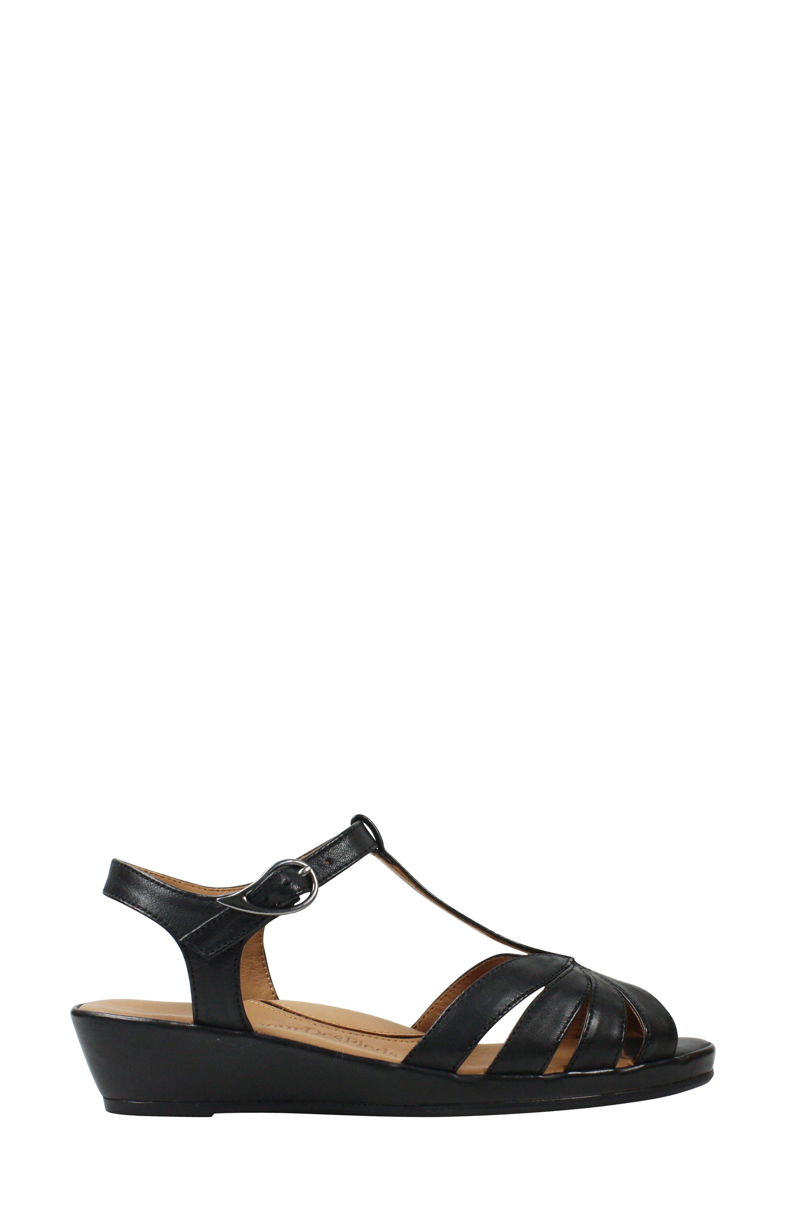 L'AMOUR DES PIEDS, Boquin Sandal, Alternate thumbnail 3, color, BLACK LEATHER
