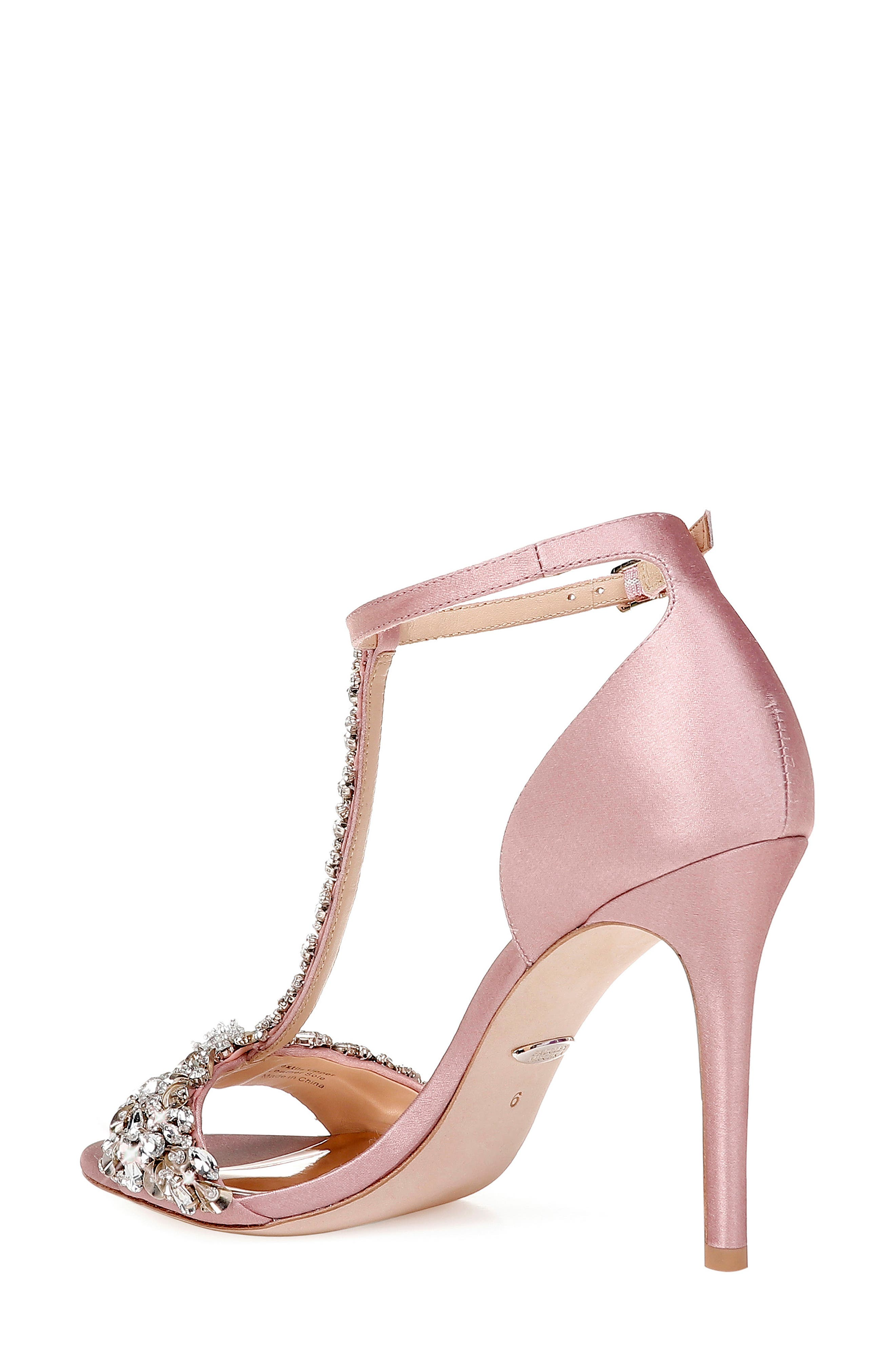 BADGLEY MISCHKA COLLECTION, Badgley Mischka Crystal Embellished Sandal, Alternate thumbnail 2, color, PINK ROSE SATIN