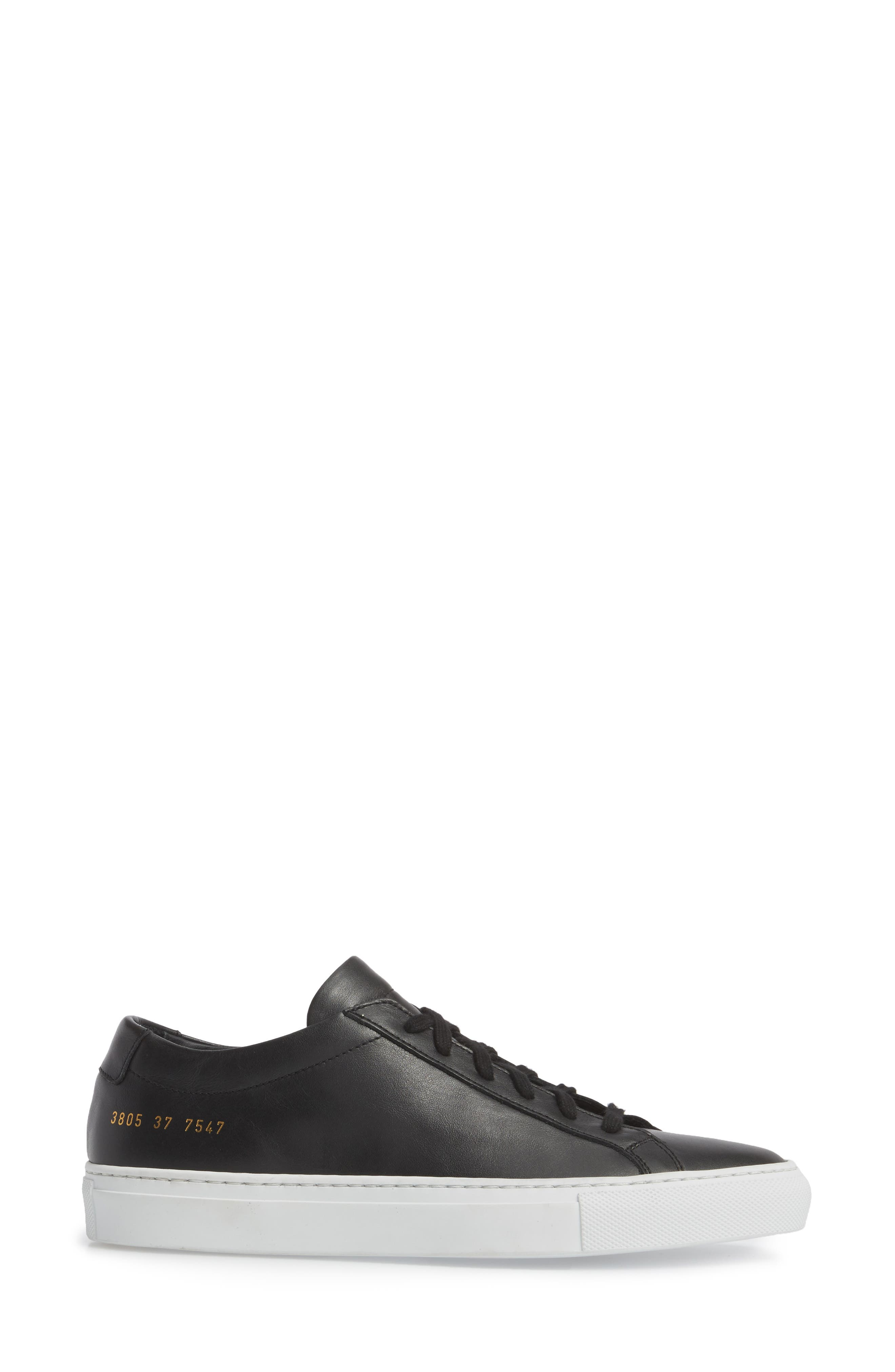 COMMON PROJECTS, Original Achilles Low Sneaker, Alternate thumbnail 3, color, BLACK