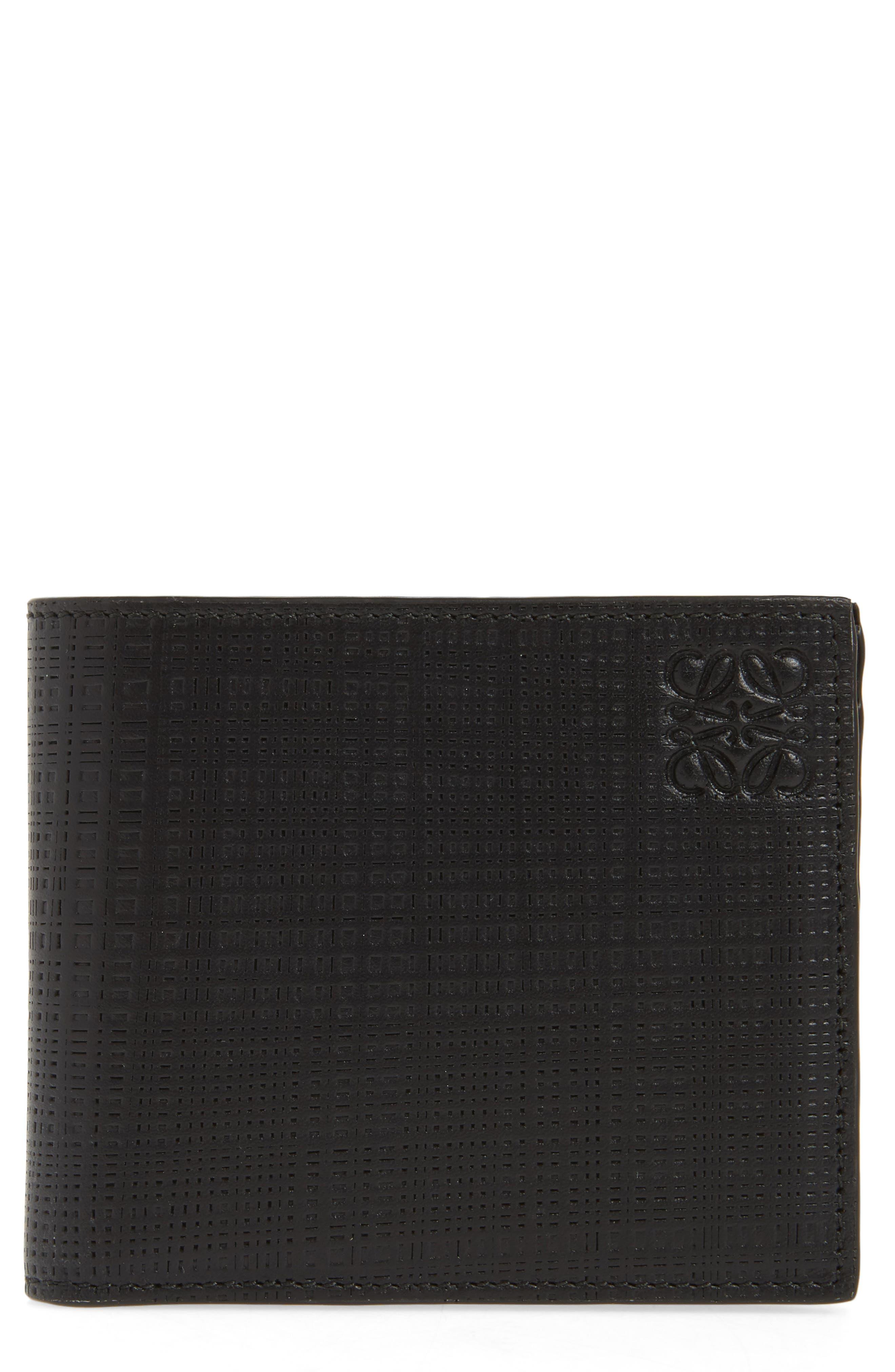 LOEWE, Bifold Leather Wallet, Main thumbnail 1, color, BLACK