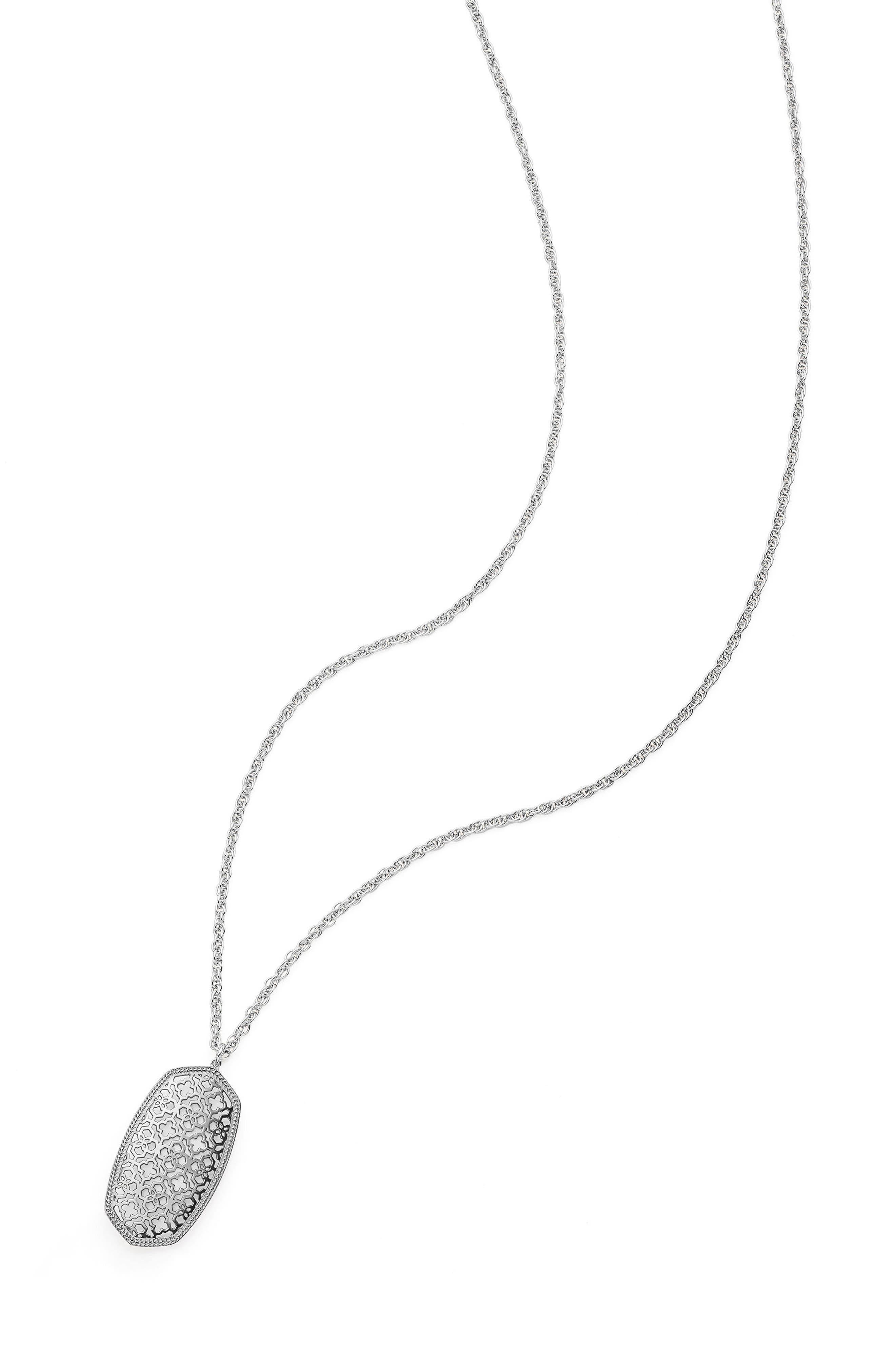KENDRA SCOTT, Rae Long Filigree Pendant Necklace, Alternate thumbnail 3, color, SILVER FILIGREE