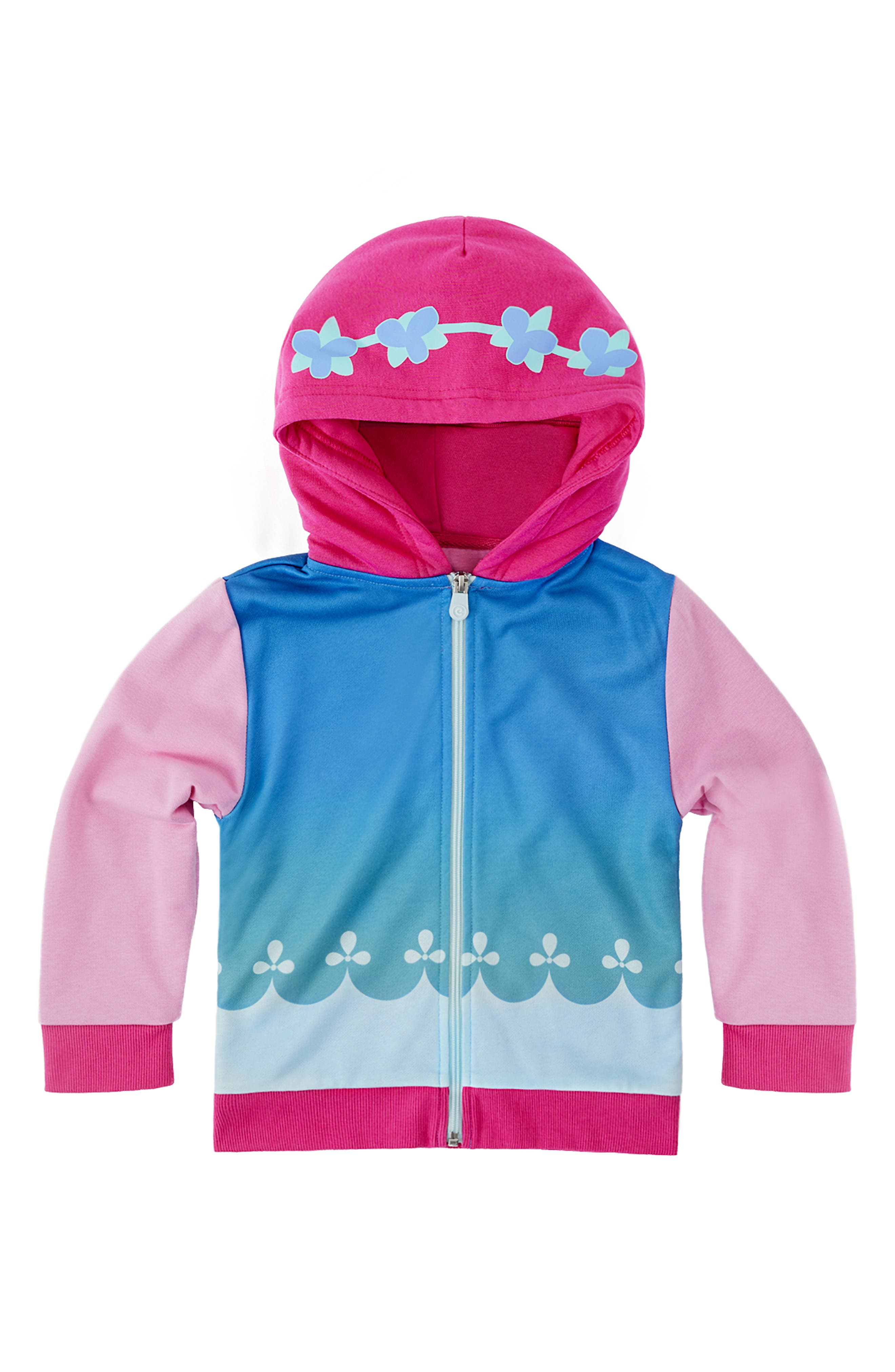 CUBCOATS, DreamWorks Trolls Poppy 2-in-1 Stuffed Animal Hoodie, Alternate thumbnail 7, color, PINK MIX