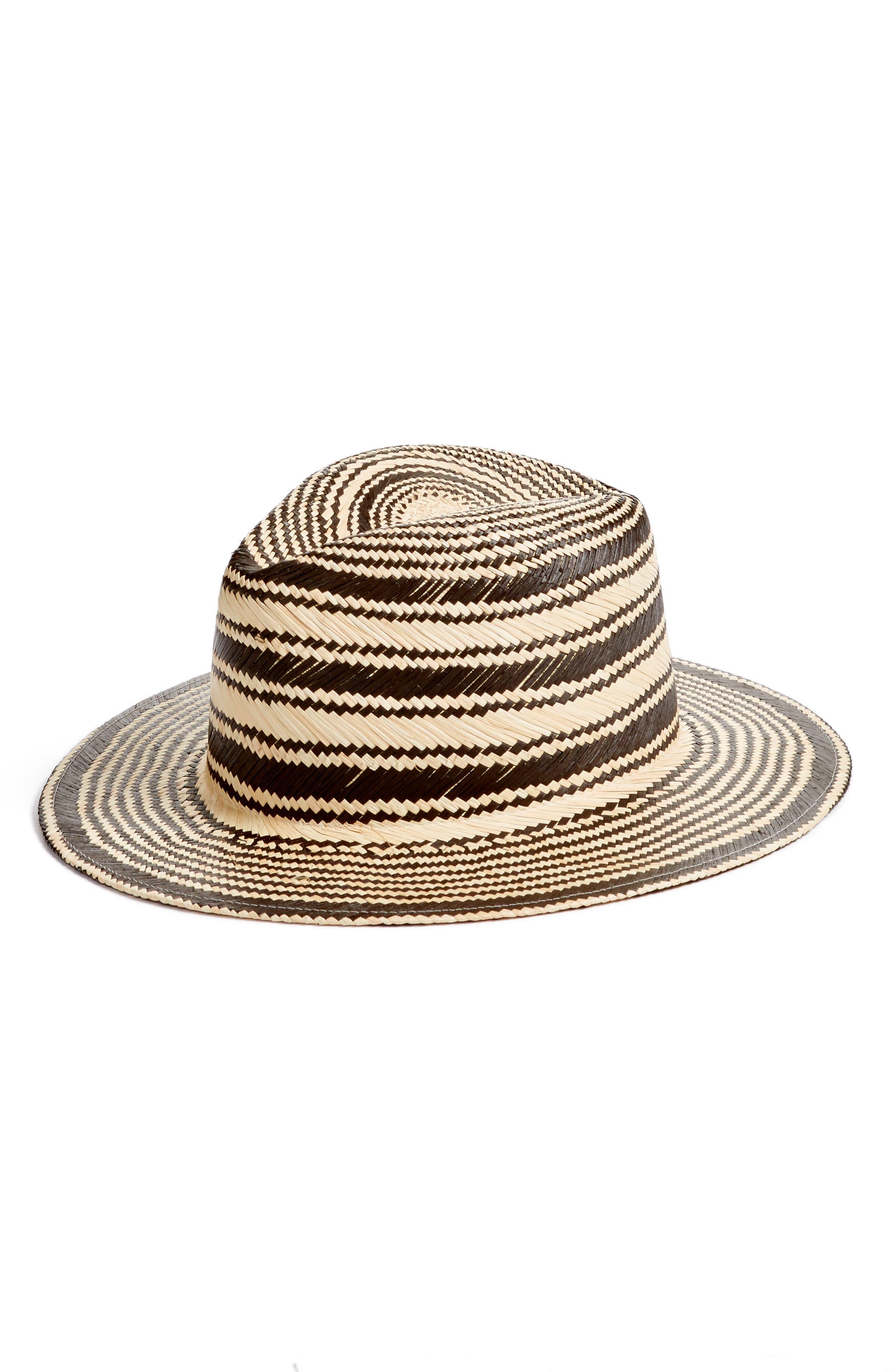 RAG & BONE, Stripe Panama Hat, Main thumbnail 1, color, 001