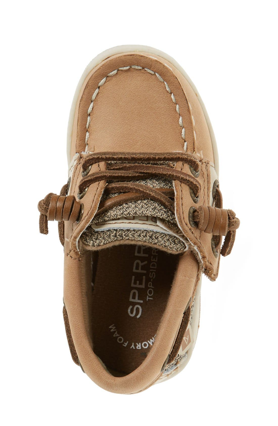 SPERRY KIDS, 'Songfish' Boat Shoe, Alternate thumbnail 5, color, LINEN/ OAT LEATHER