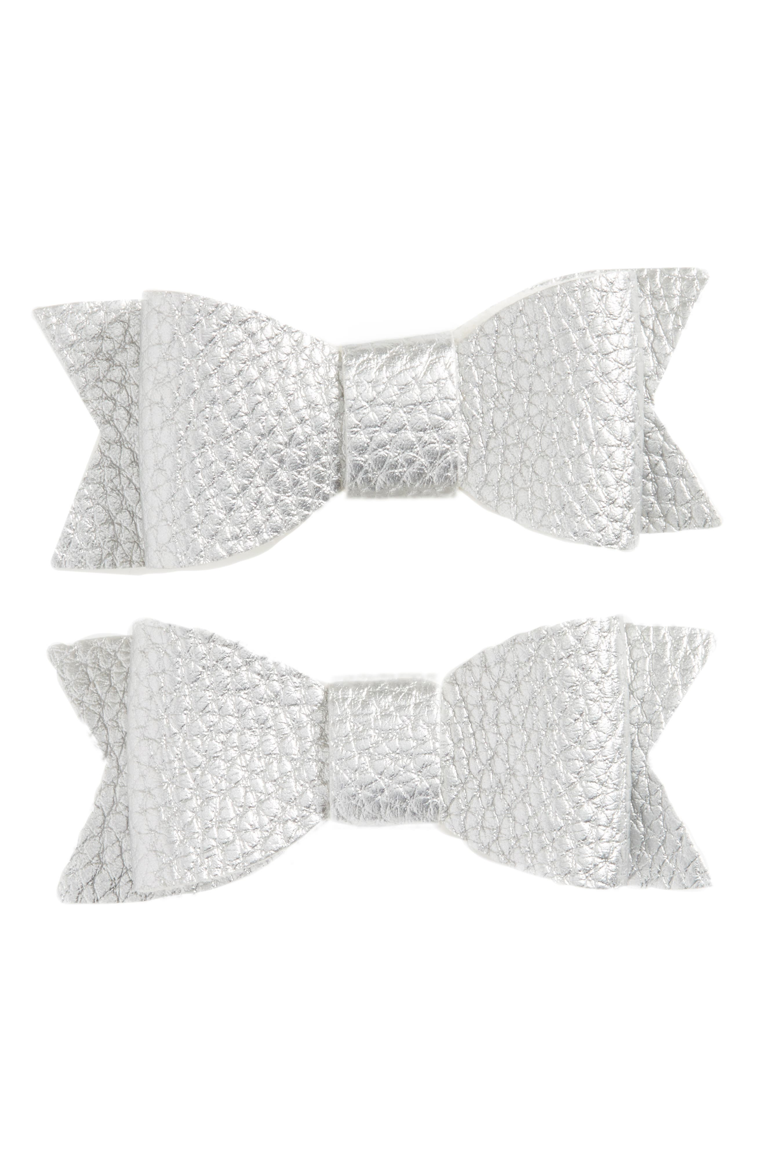 BABY BLING, 2-Pack Bow Clips, Main thumbnail 1, color, SILVER