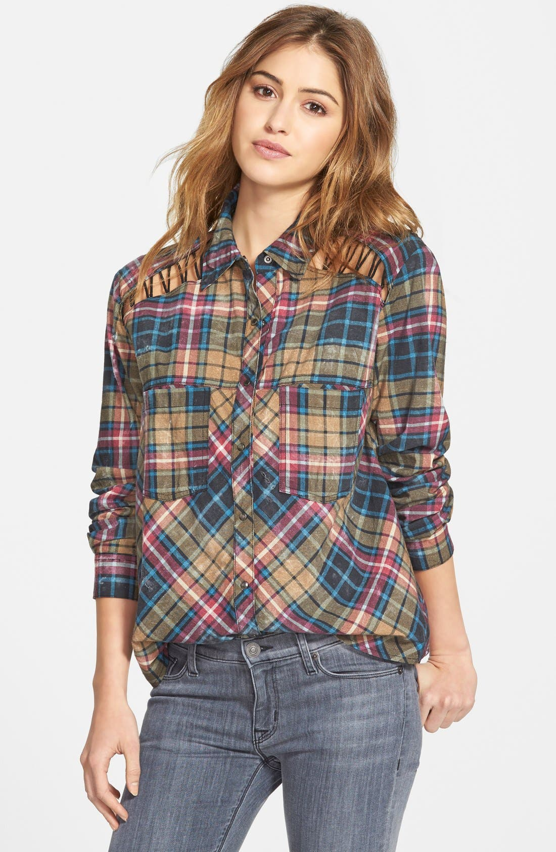 FREE PEOPLE Stitch Detail Plaid Shirt, Main, color, 300