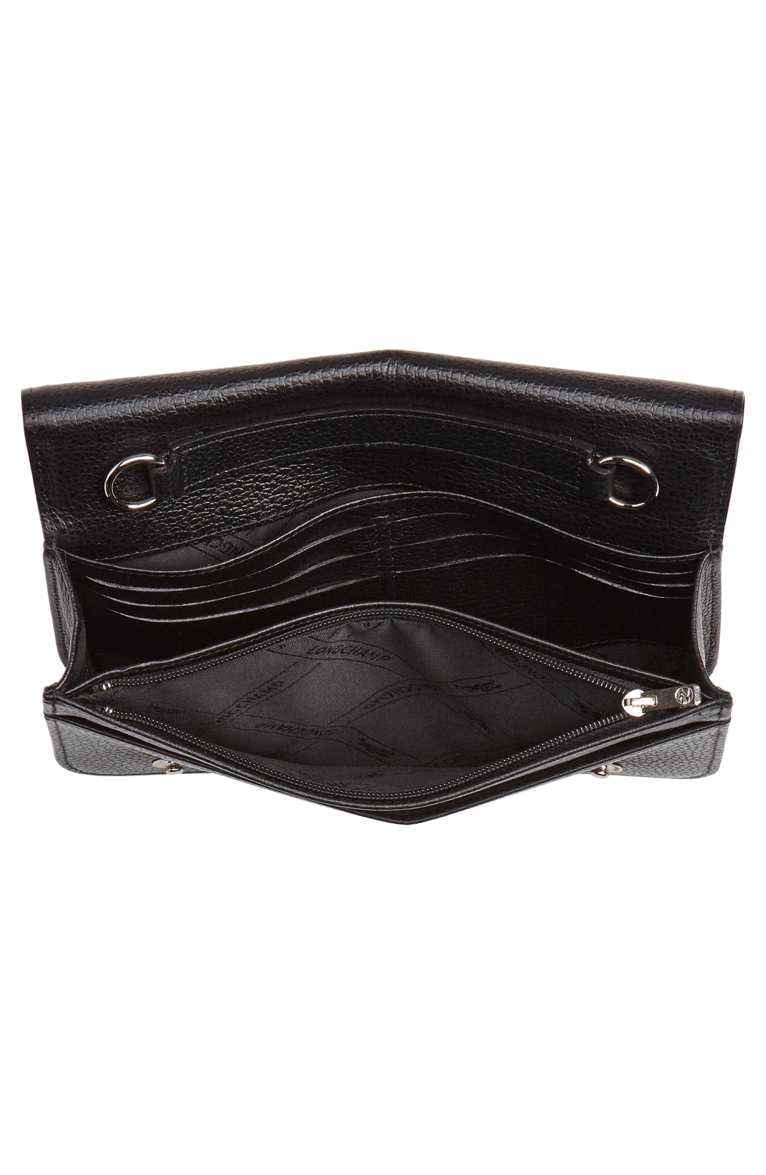 LONGCHAMP, Le Foulonné Leather Wallet on a Chain, Alternate thumbnail 4, color, BLACK