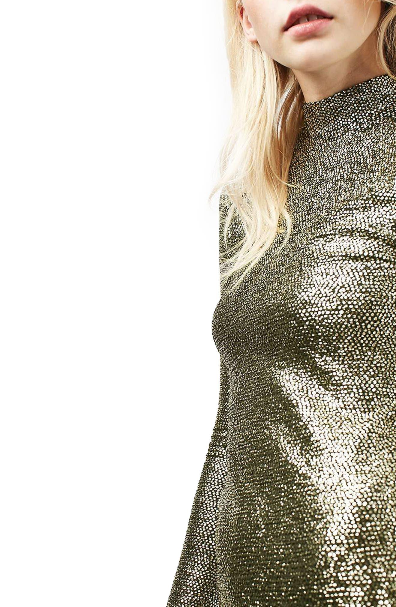 TOPSHOP, Foil Spot Midi Dress, Alternate thumbnail 5, color, 710