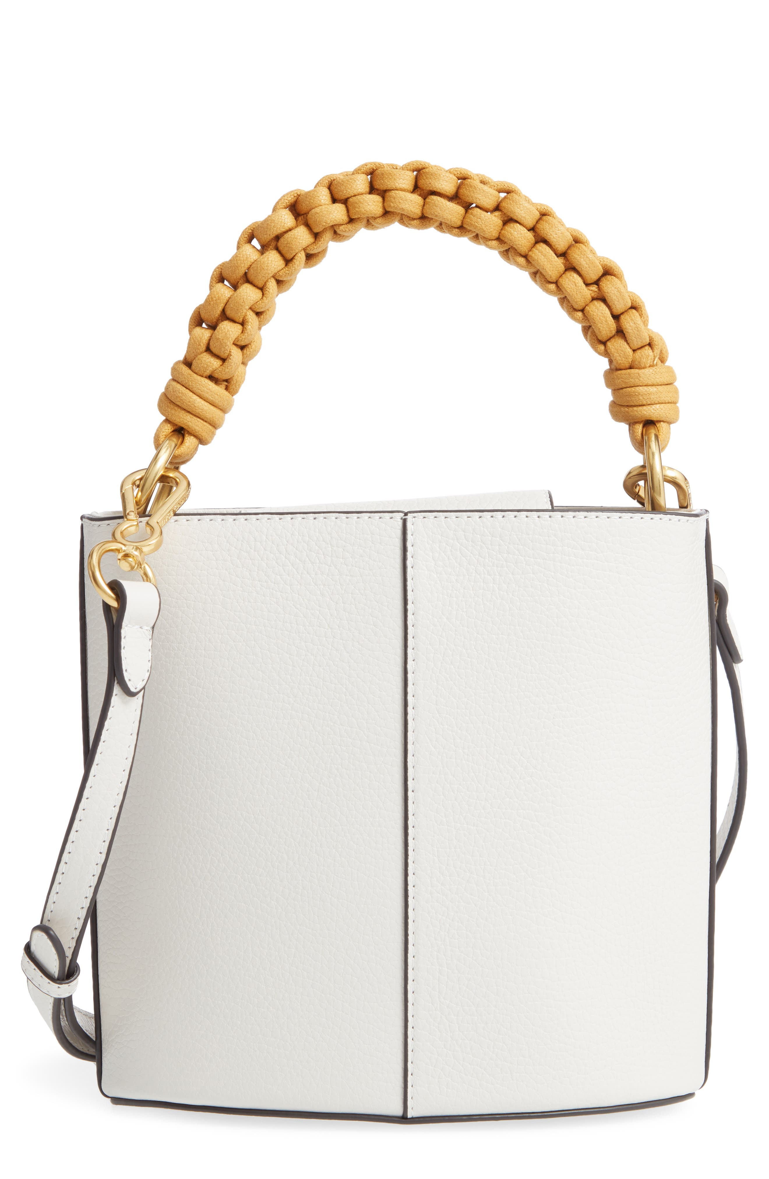 VINCE CAMUTO Zane Leather Bucket Bag, Main, color, SNOW WHITE