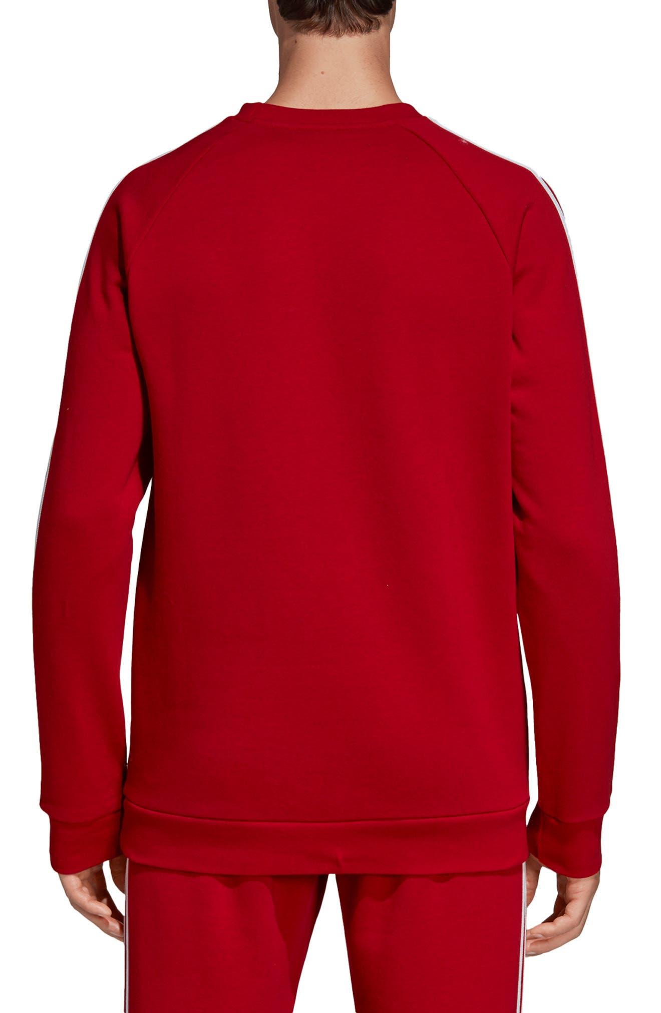 ADIDAS ORIGINALS, 3-Stripes Raglan Sweatshirt, Alternate thumbnail 2, color, POWER RED
