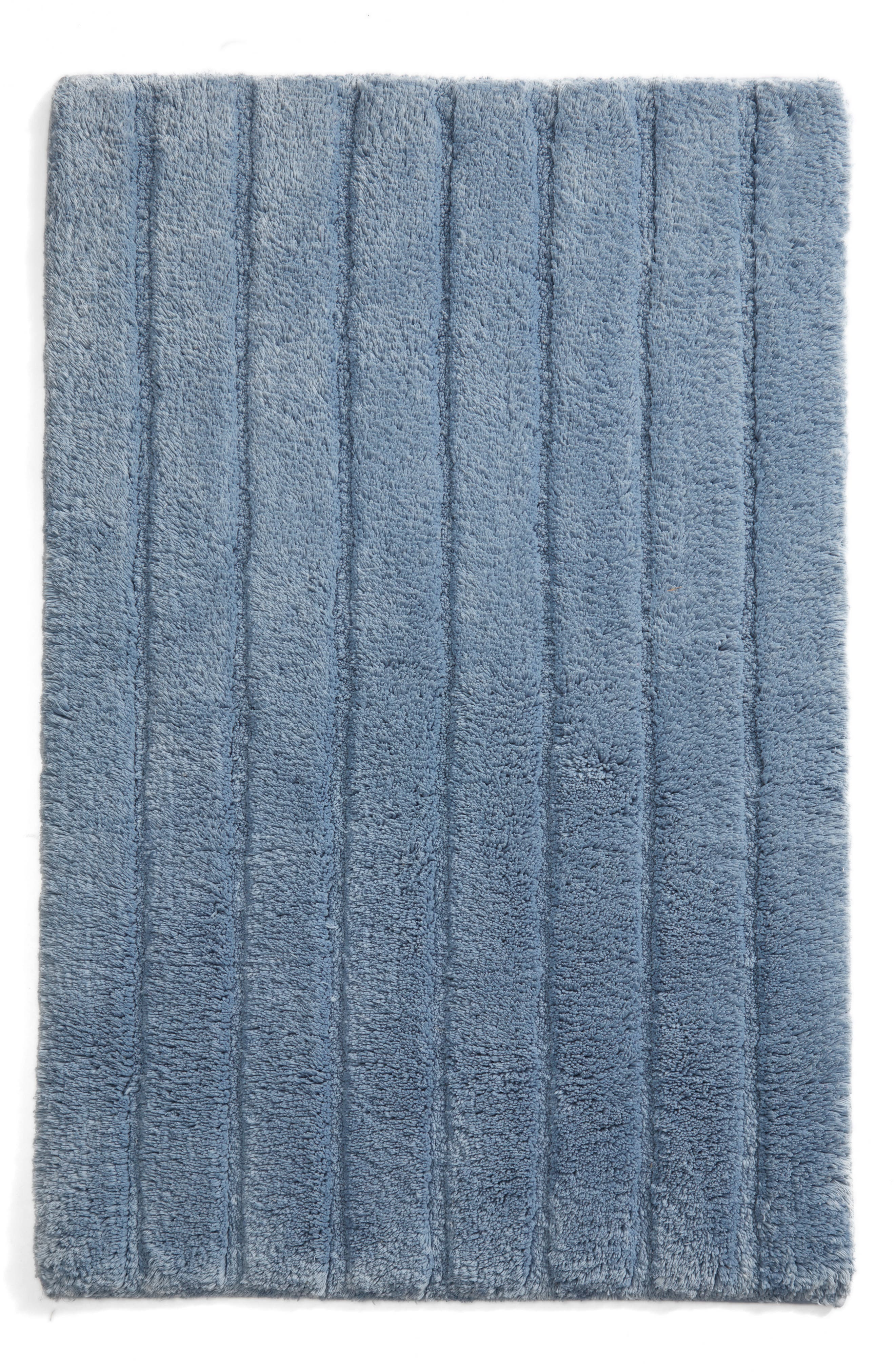 NORDSTROM AT HOME, Ribbed Velour Bath Rug, Main thumbnail 1, color, BLUE CHAMBRAY
