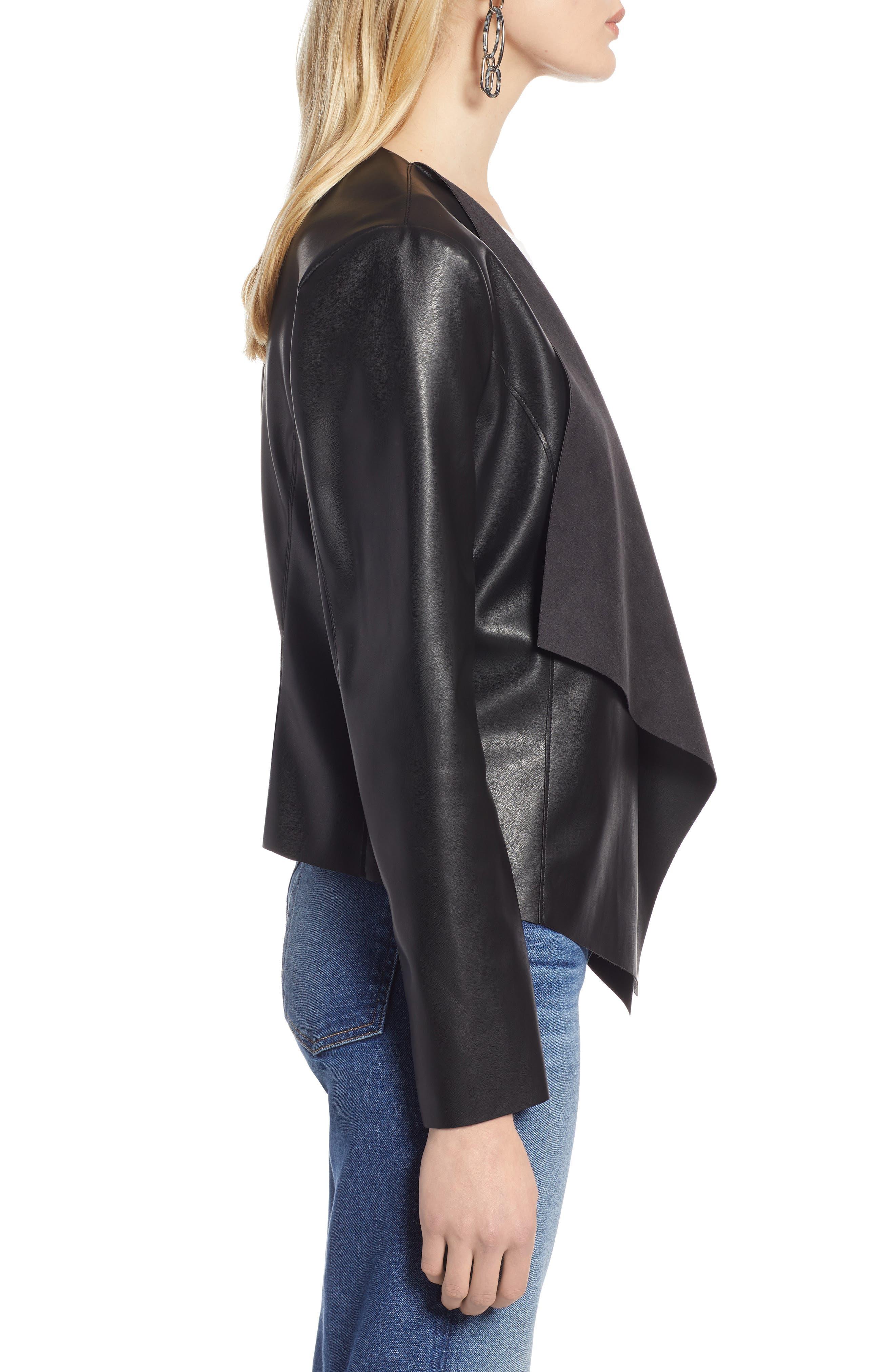 HALOGEN<SUP>®</SUP>, Drape Faux Leather Jacket, Alternate thumbnail 4, color, BLACK