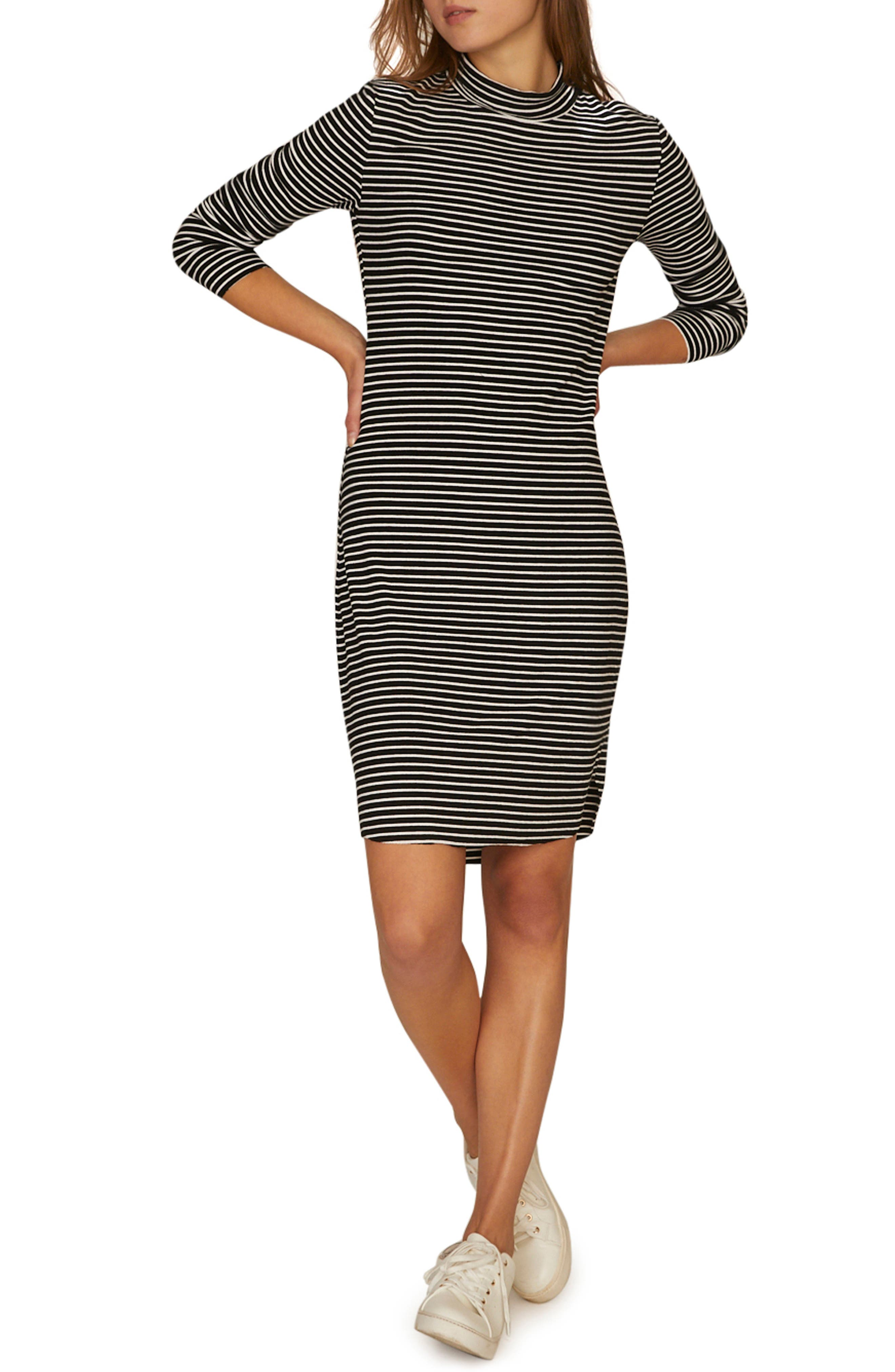 SANCTUARY Essentials Stripe Mock Neck Dress, Main, color, CLASSIC STRIPE BLACK