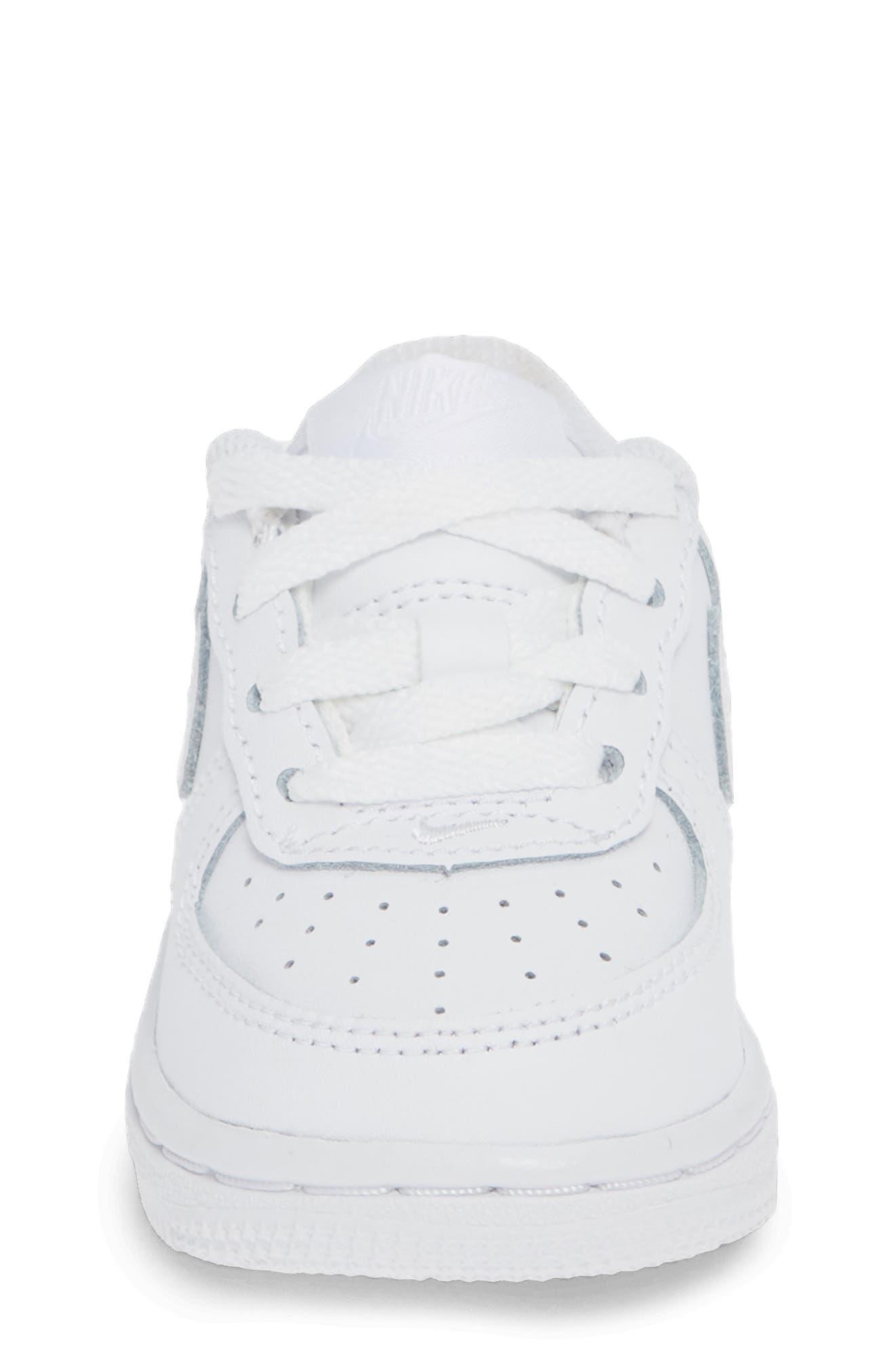 NIKE, Air Force 1 Sneaker, Alternate thumbnail 4, color, WHITE